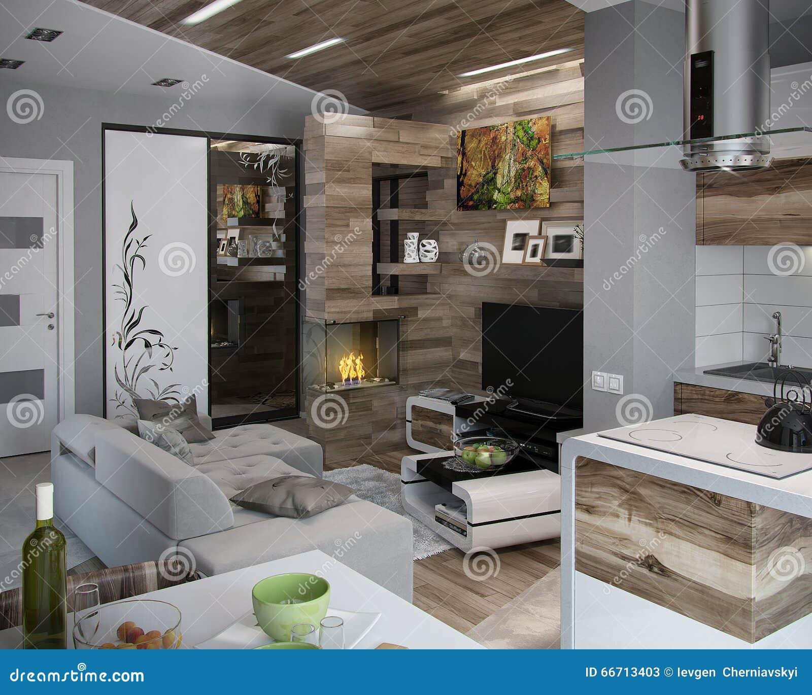 Otwarta pojęcie kuchnia i Żywy pokój, 3D Odpłacamy się