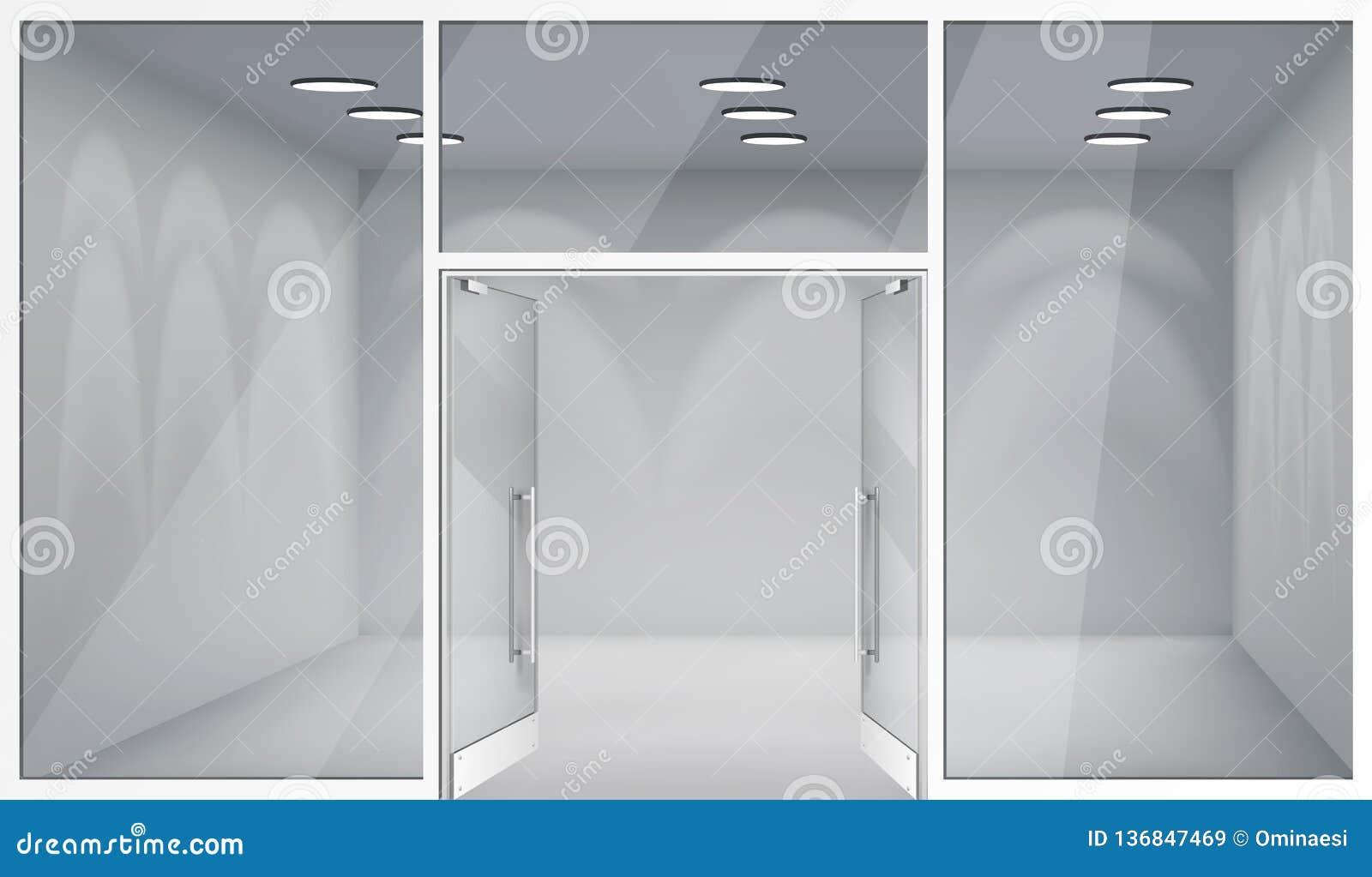 Otwarte drzwich 3d sklepu wnętrza przodu pustego sklepu realistyczni okno interliniują szablonu mockup tła wektoru ilustrację