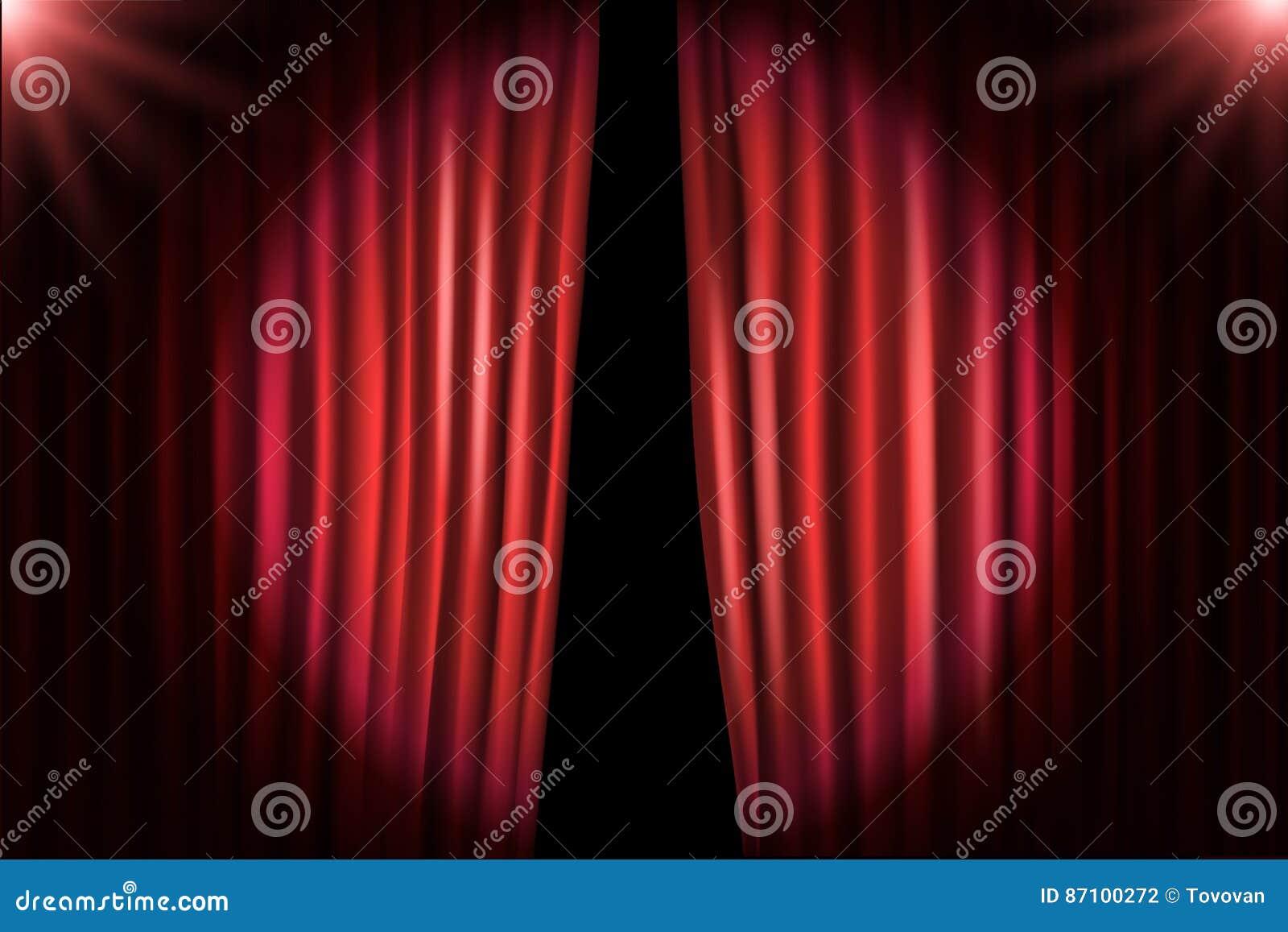 Otwierać scen zasłony z jaskrawymi projektorami