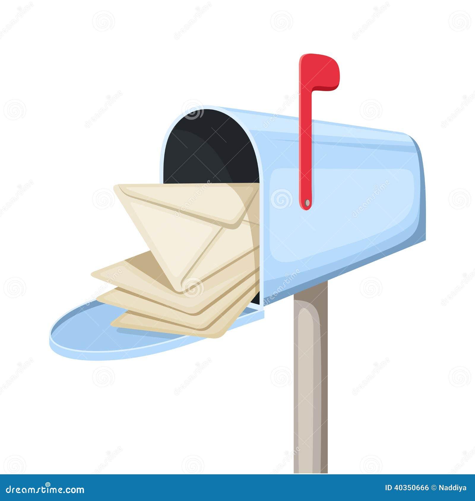 Otwiera błękitną skrzynkę pocztowa z listami. Wektorowy illustratio