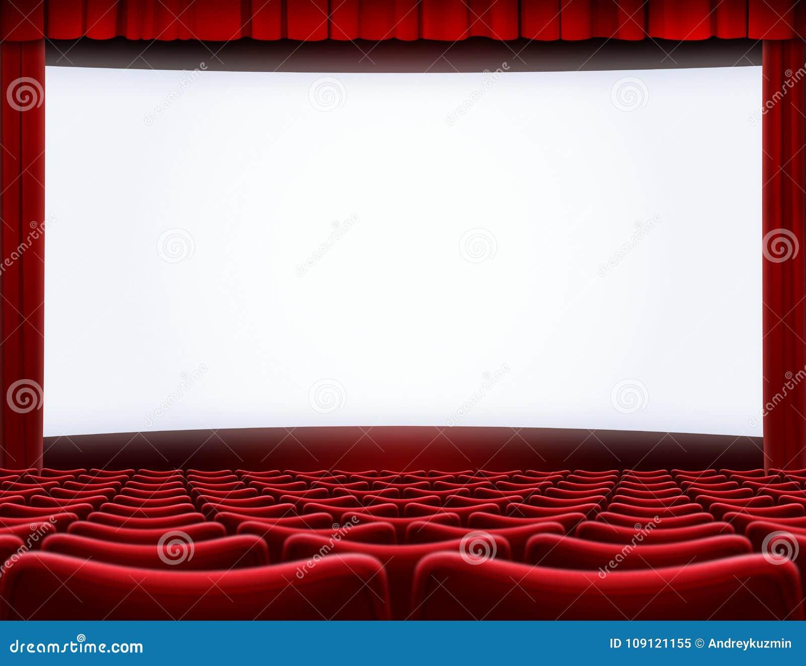 Otwiera filmu ekran w kinowej teatru 3d ilustraci