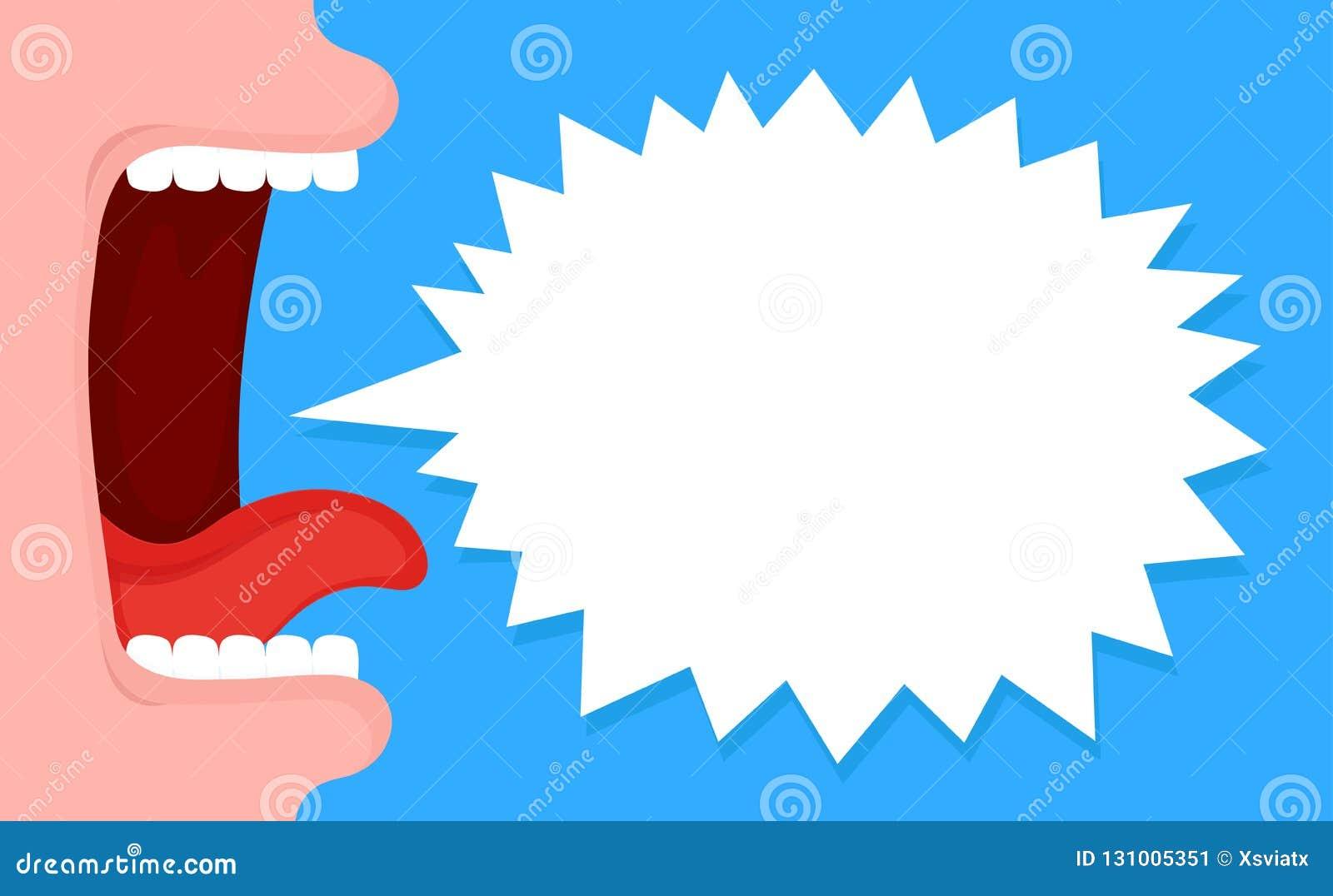 Otwiera krzyczącego usta z mowa bąblem