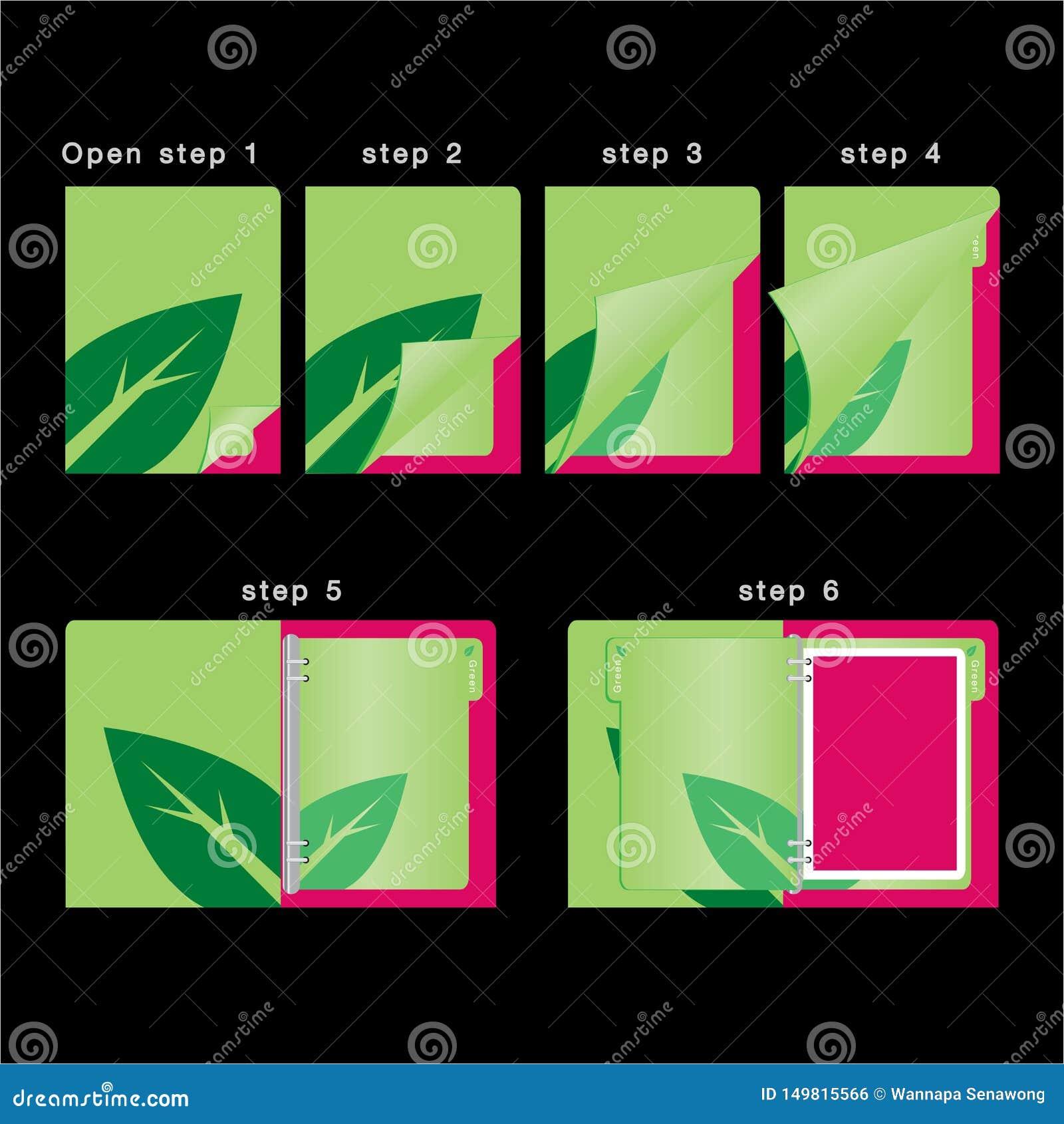 Otwiera książkowego kolorowego organizatora szablon i zamyka wektor - dzienniczka zielony pojęcie -