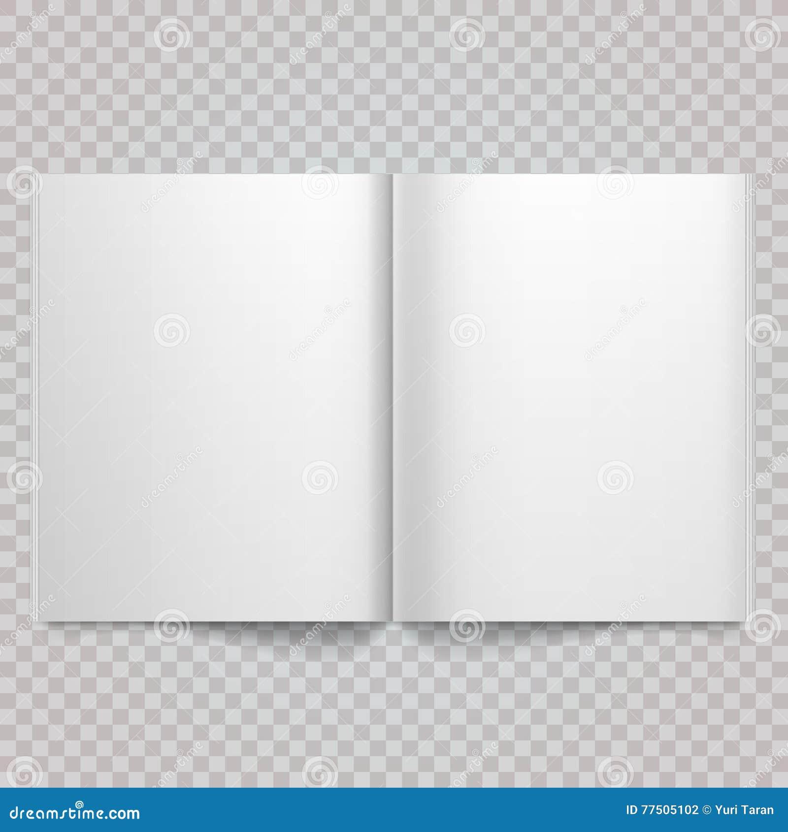 Otwiera magazyn stronę rozprzestrzeniającą z pustymi stronami Odosobniony białego papieru magazynu Wektorowy biały pusty rozszerz