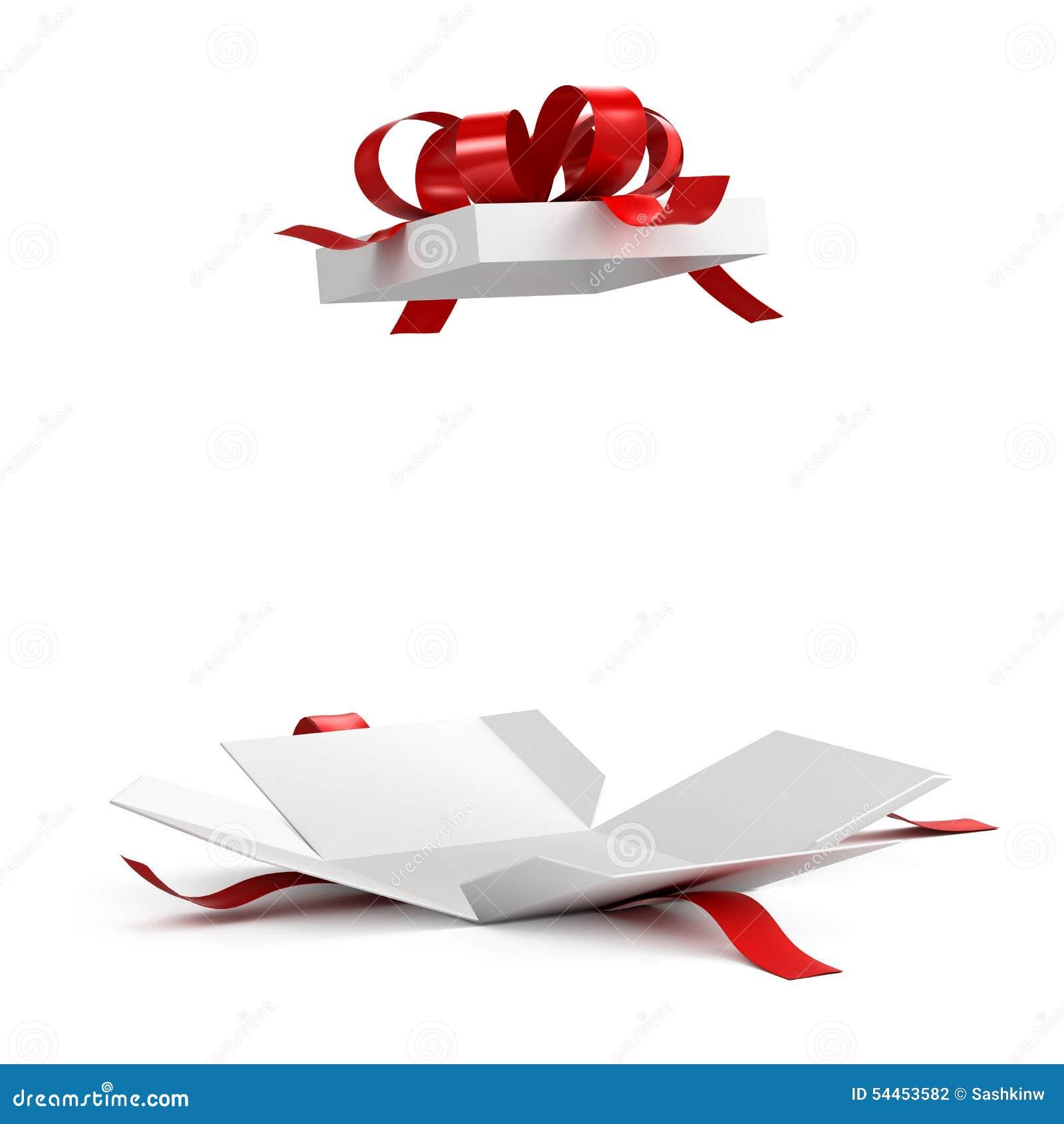 Otwiera prezenta pudełko z czerwonym faborkiem