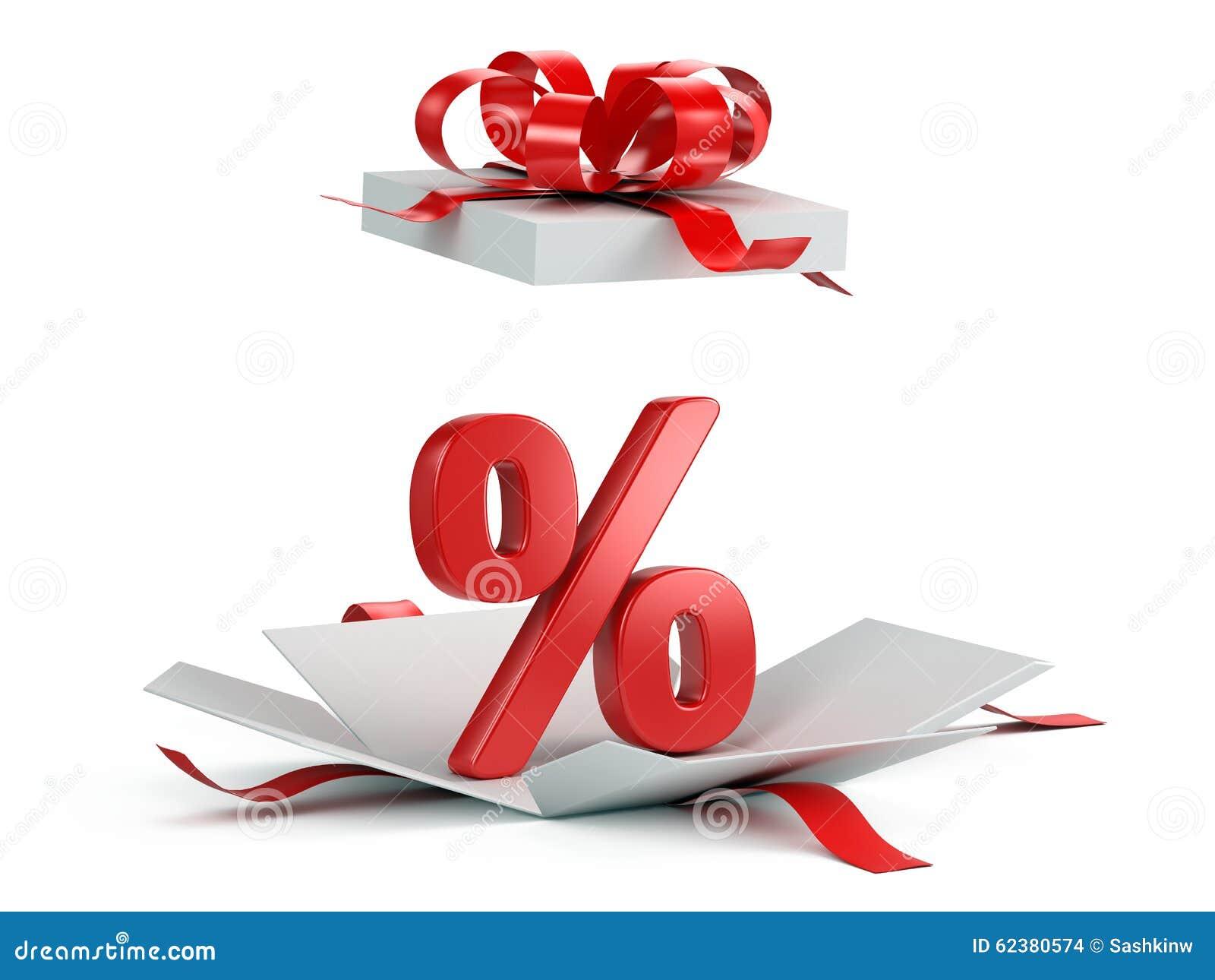 Otwiera prezenta pudełko z czerwonym procentem
