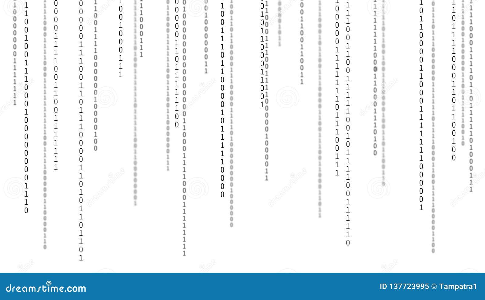 01 ou nombres binaire sur l écran d ordinateur sur le fond de matrice de moniteur, le code de données numériques dans le pirate i