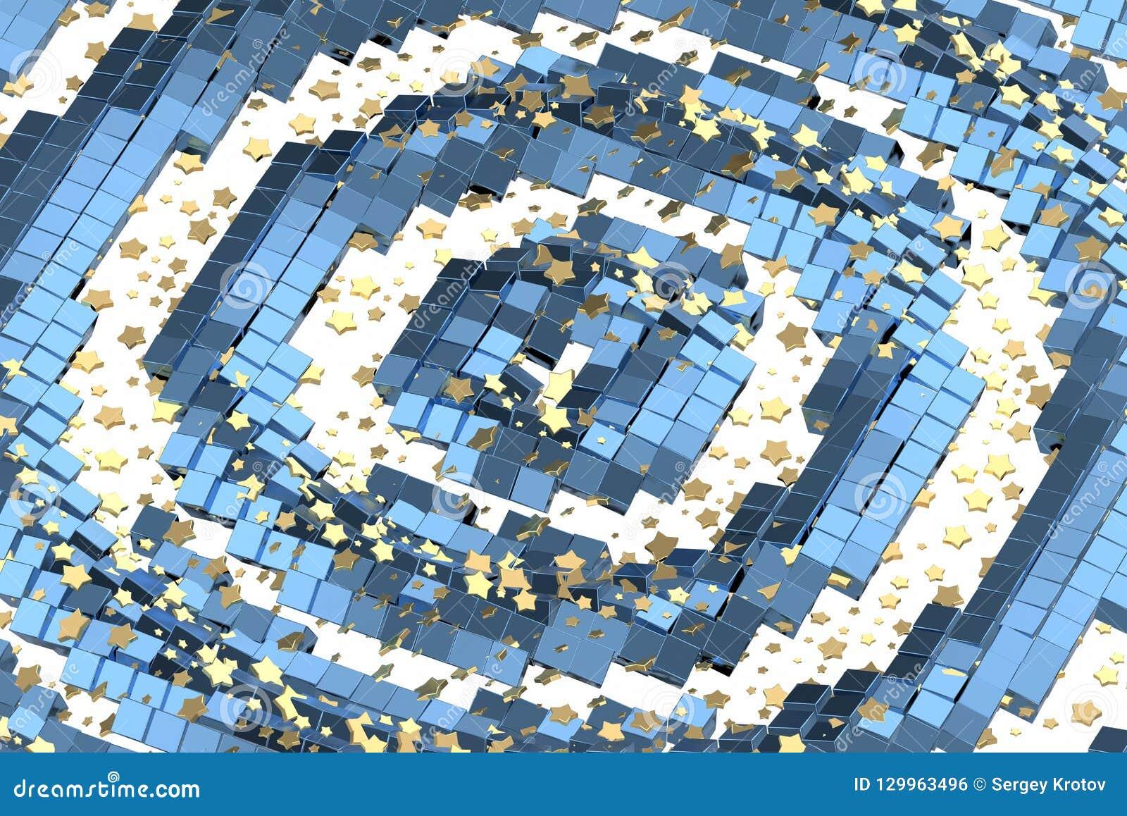 Or ou vol d étoiles de platine au-dessus de l espace de matrice de fond blanc et de boîte bleue Modélisation de l illustration 3d