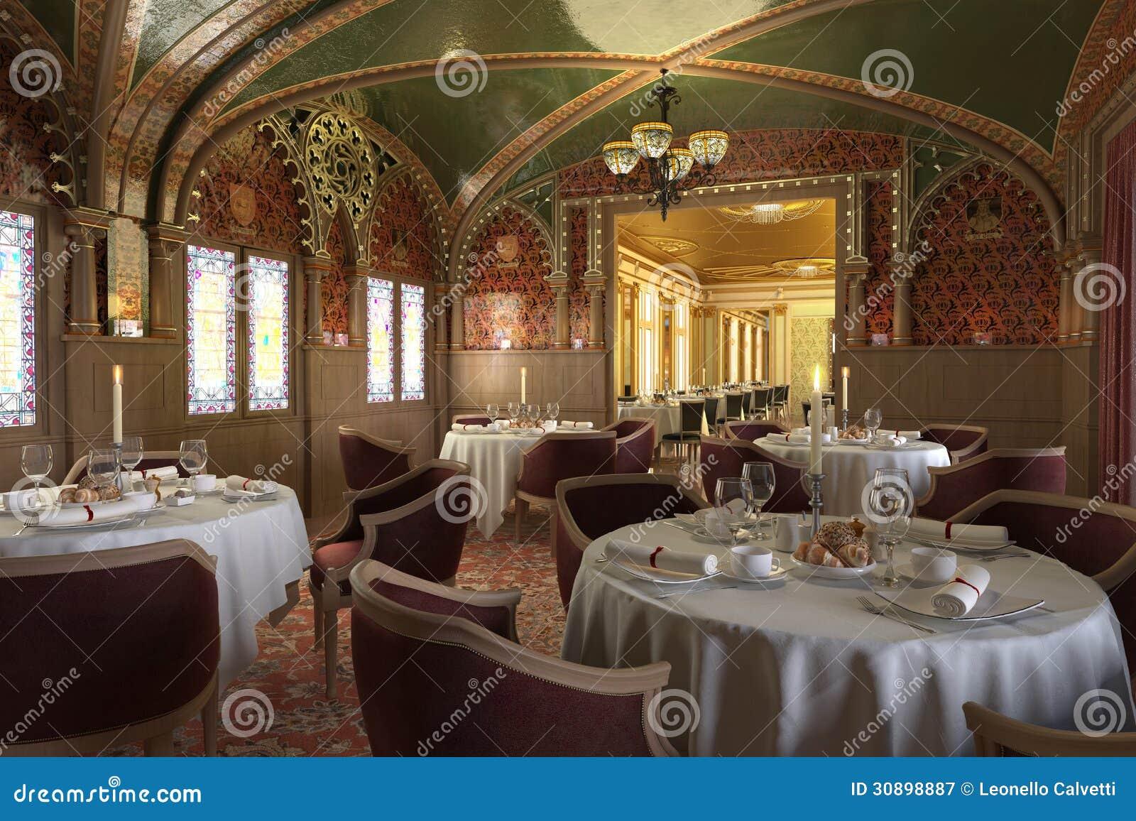 Oud antiek restaurantbinnenland met decoratie royalty vrije stock fotografie beeld 30898887 - Restaurant decoratie ...