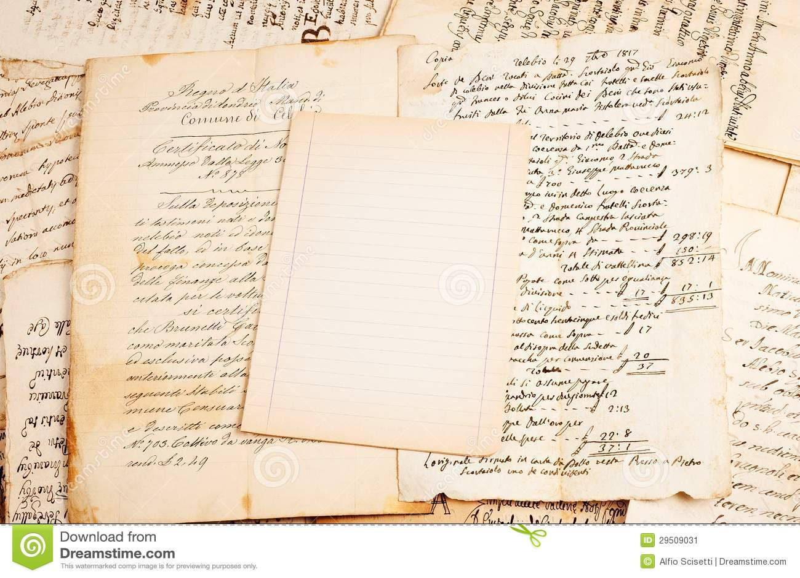 Oud document blad