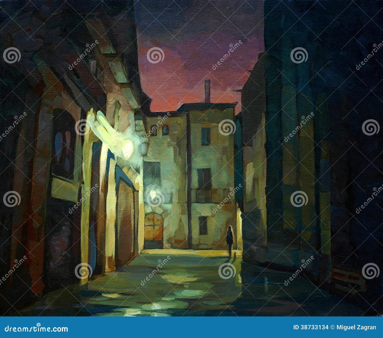 Oud gotisch kwart in Barcelona bij nacht