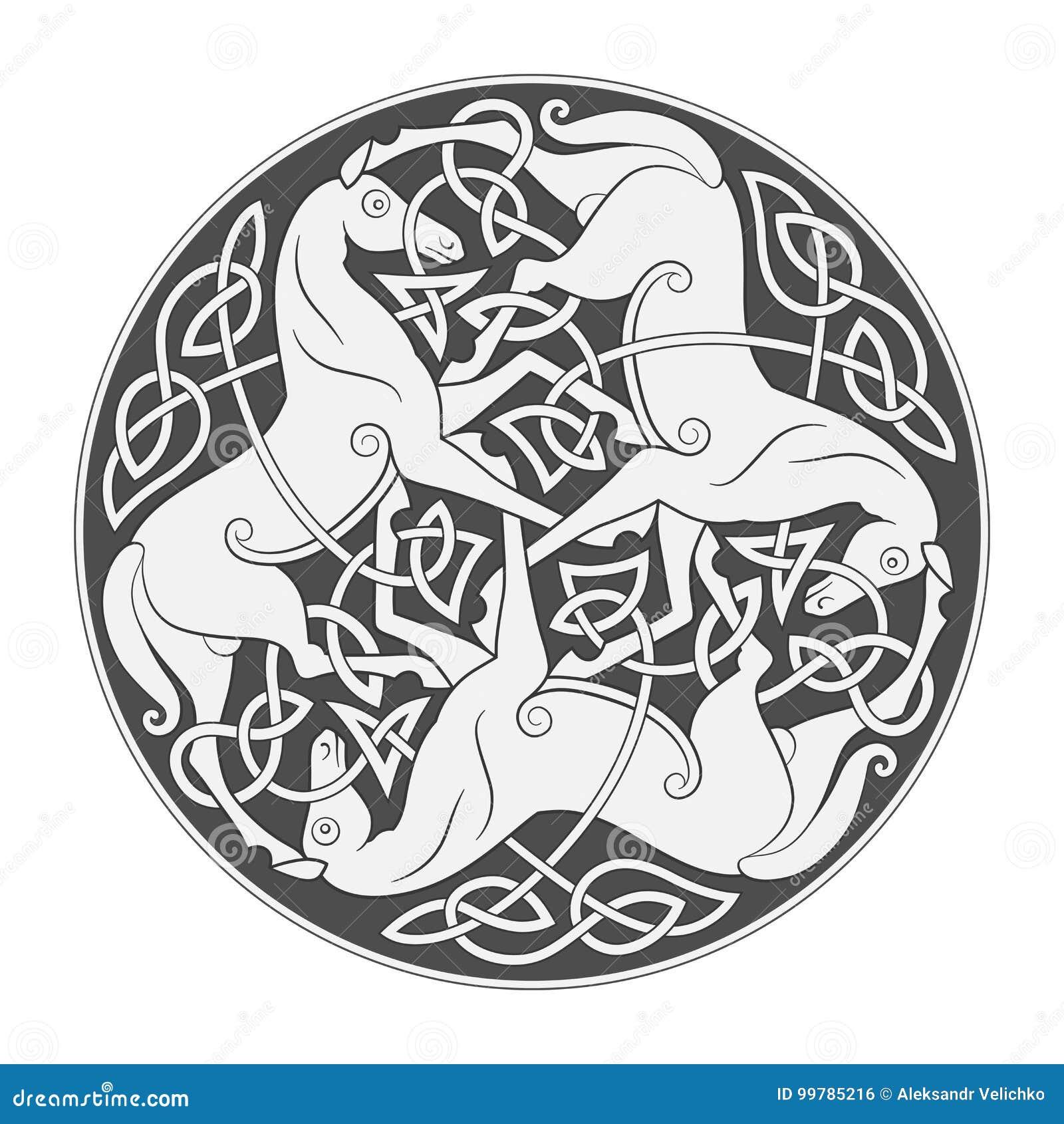 Oud Keltisch mythologisch symbool van paarddrievuldigheid
