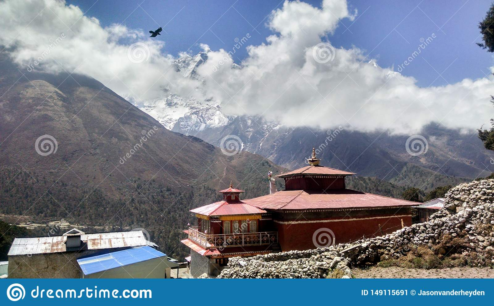 Oud Klooster in Himalayagebergte Nepal