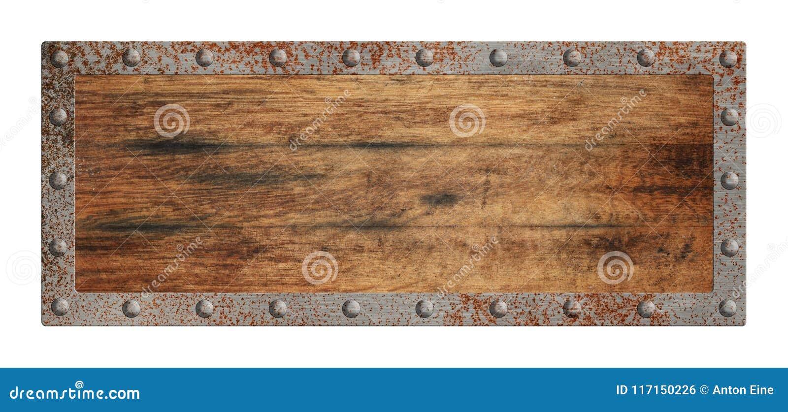 Oud leeg houten teken met geïsoleerde metaalgrens