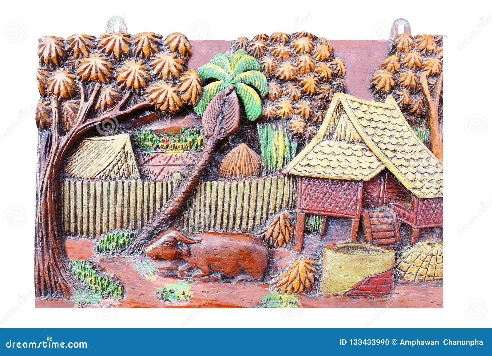 Oud met de hand gemaakt houtsnijwerkkader van Thaise levensstijl in het verleden,