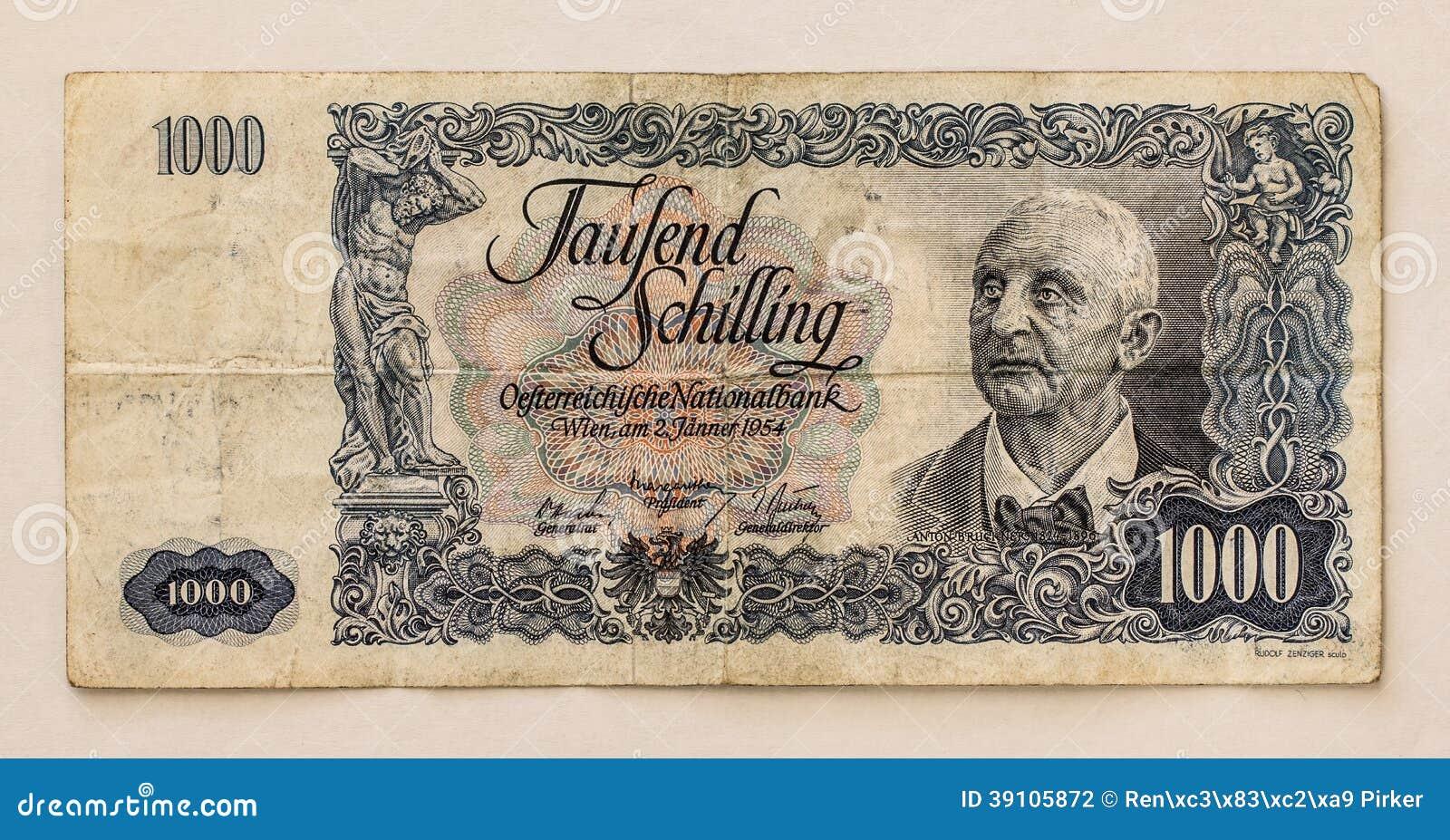 Oud Oostenrijks Bankbiljet: 1000 Schilling 1954