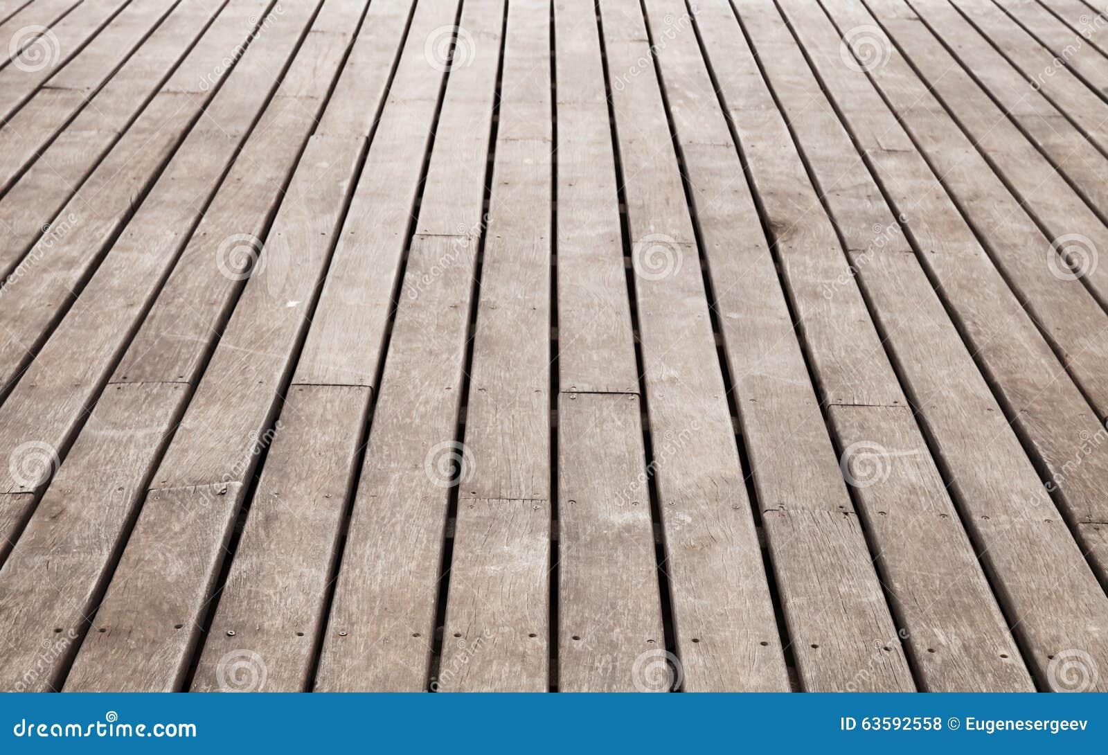 Oud pijlerperspectief bruine houten vloer stock foto afbeelding
