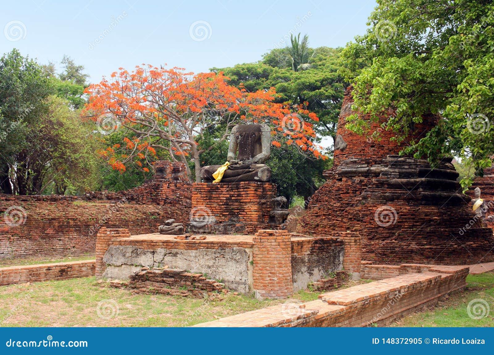 Oud standbeeld van Boedha in ruïnes, binnen een oude tempel Ayutthaya, Thailand