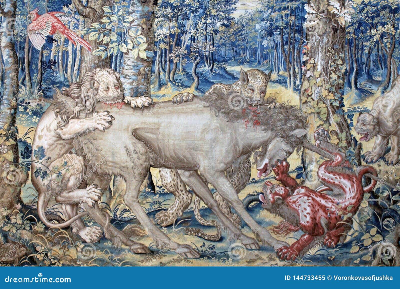 Oud tapijtwerk op de muur van het Paleis op het Eiland Isola Bella Italy