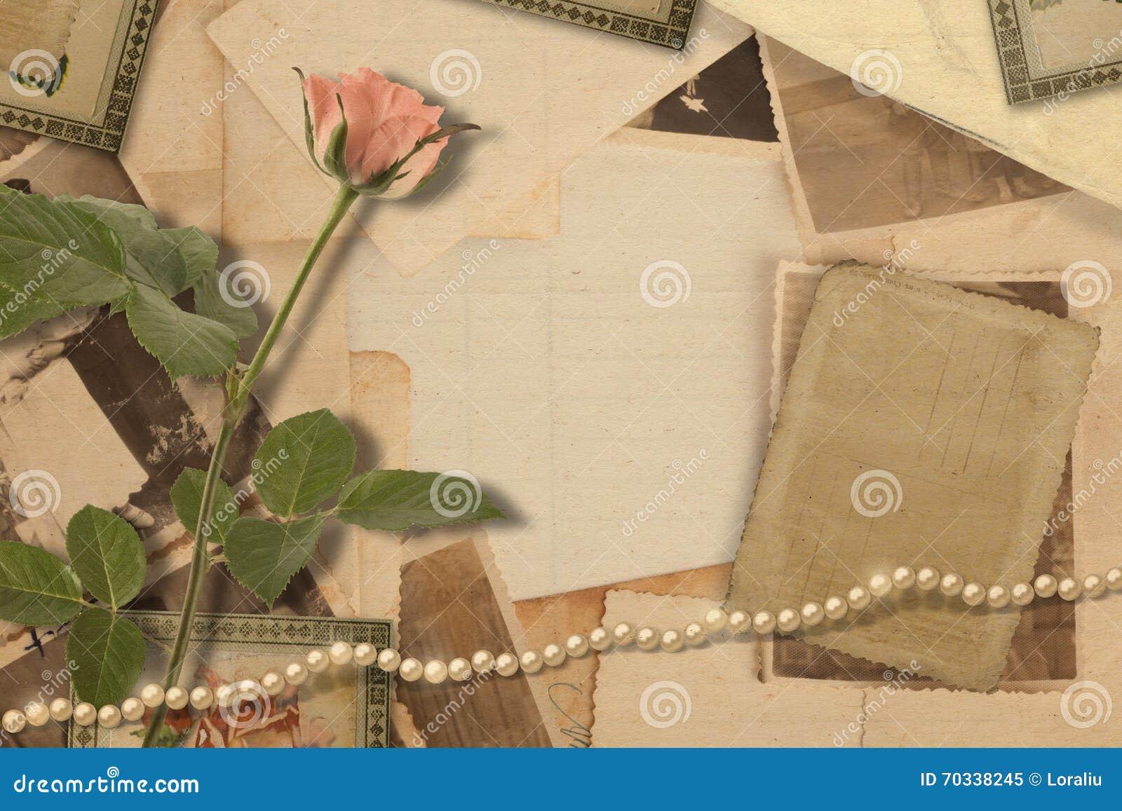 Oud uitstekend archief met foto s en roze rozen
