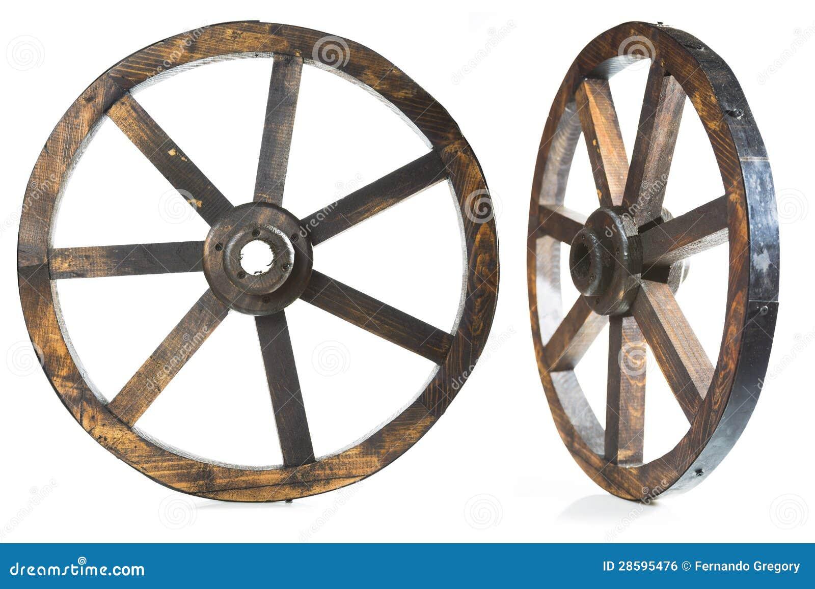 Oud uitstekend houten wiel op wit royalty vrije stock afbeelding afbeelding 28595476 - Houten doos op wielen ...