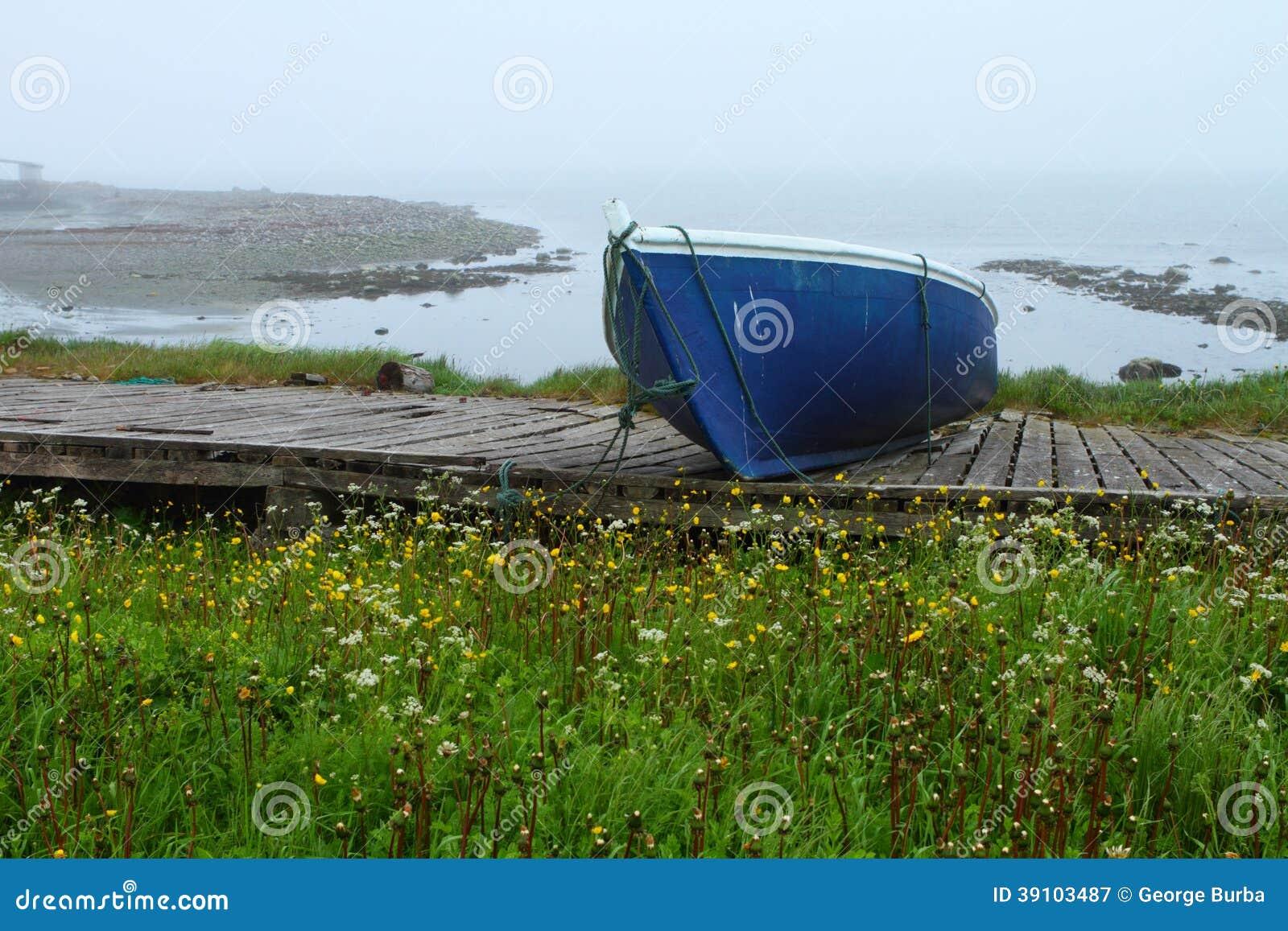 Oude blauwe boot