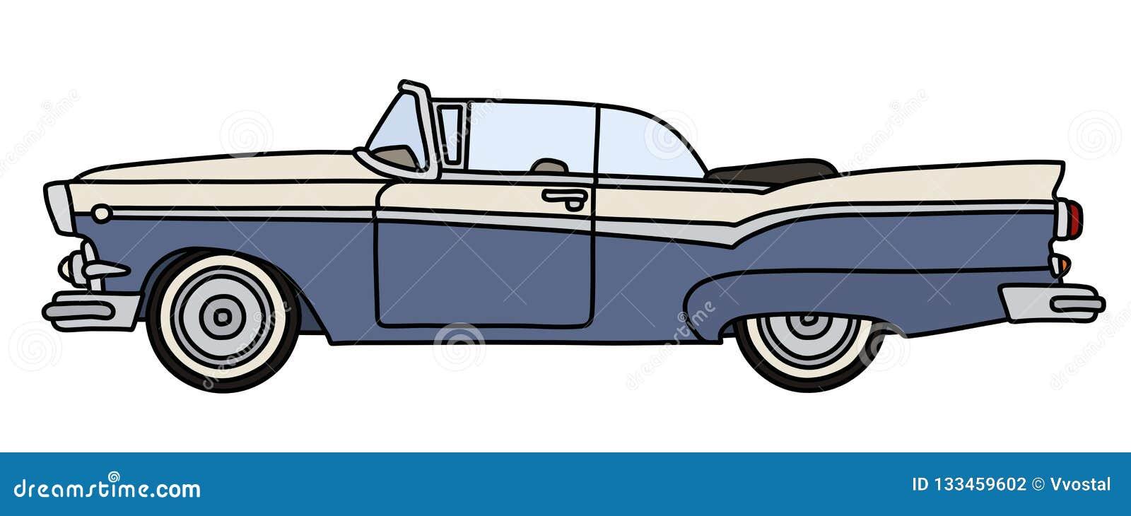 Oude blauwe en witte Amerikaanse convertibel