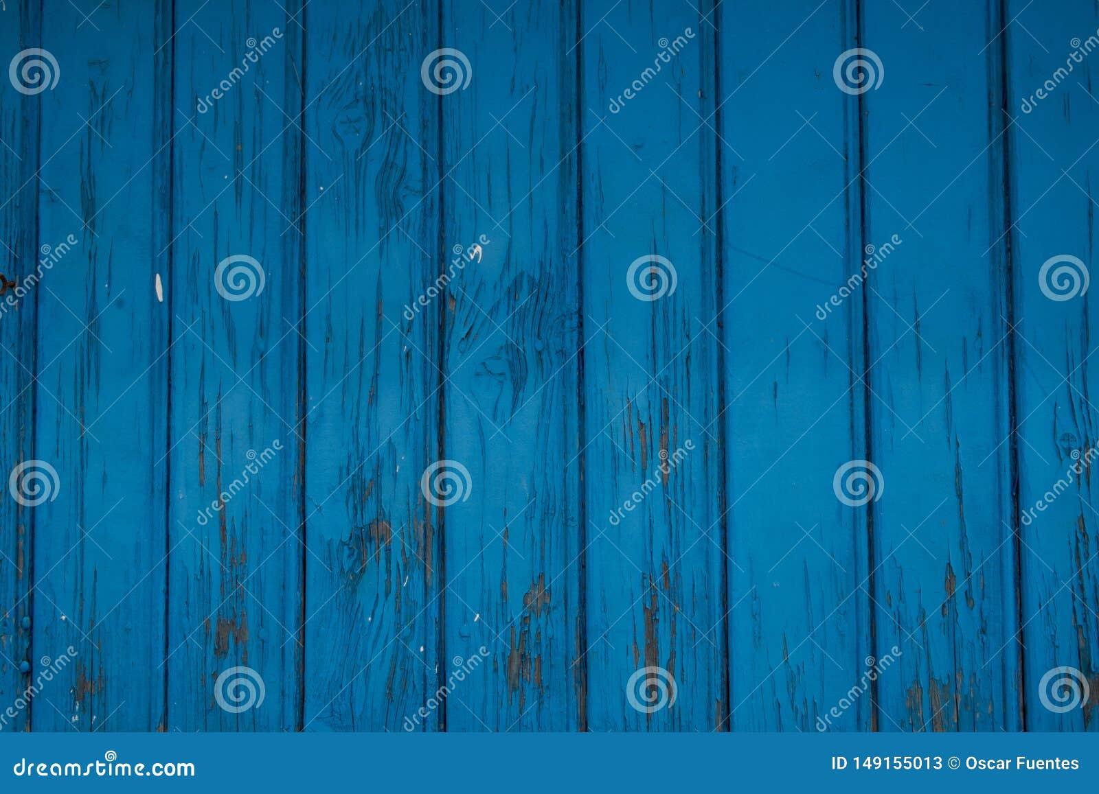 Oude blauwe houten deur, oude blauwe verf