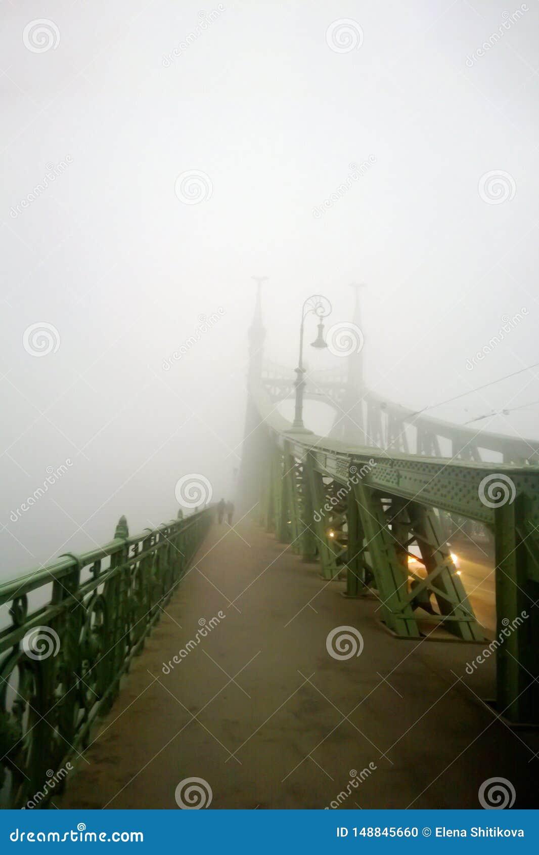 Oude brug in de mist Mystieke Visie Een paar mensen lopen samen in de mist