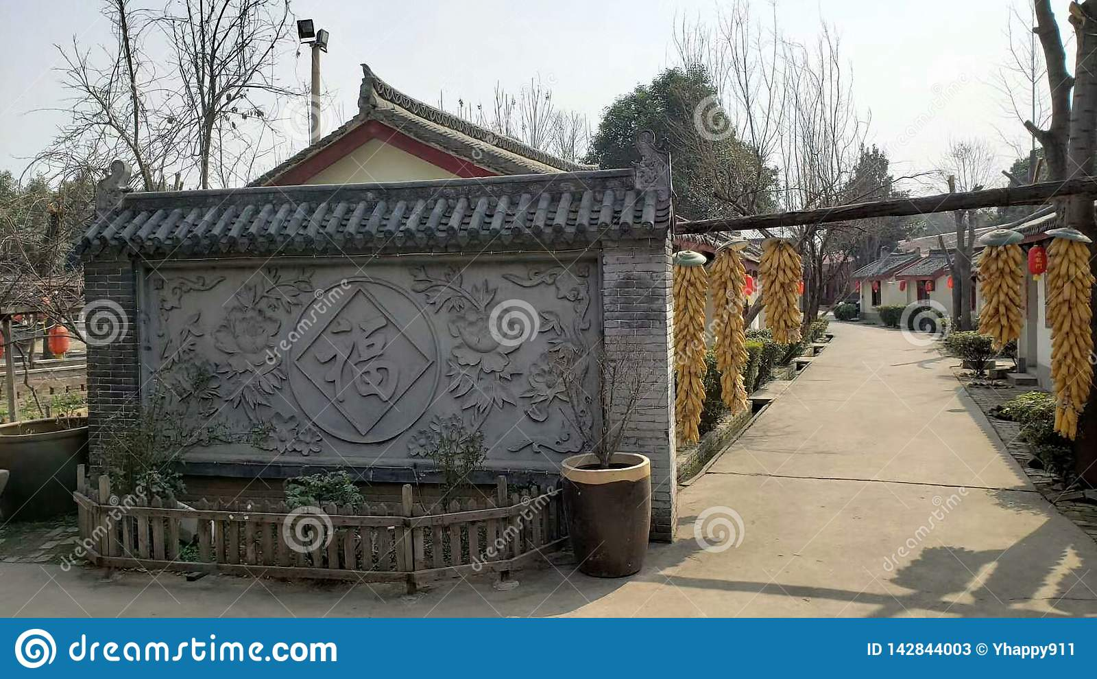 Oude Chinese landelijke historische gebouwen