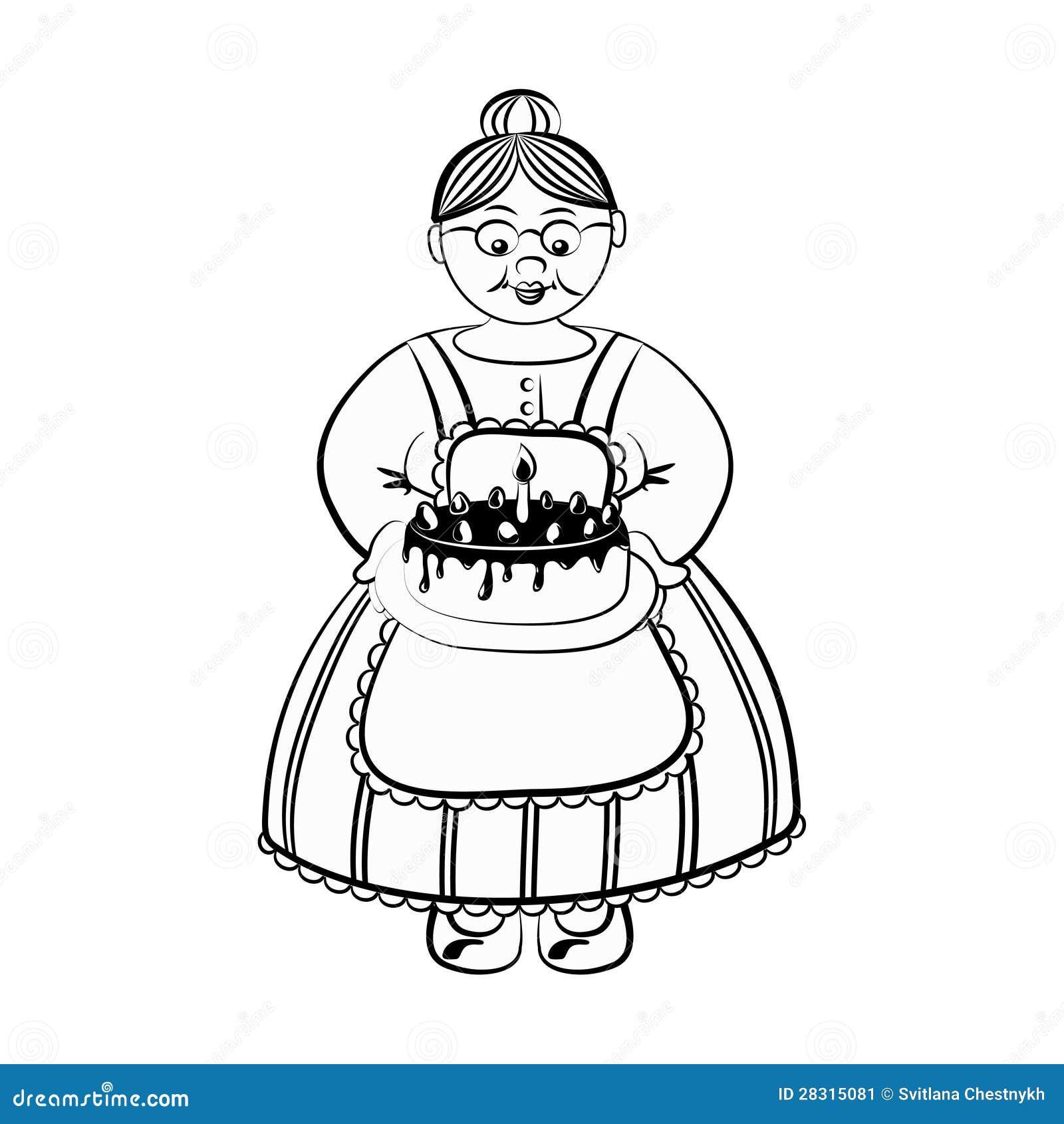 Oude Dame Met Birhday Geschetste Cake Vector Illustratie