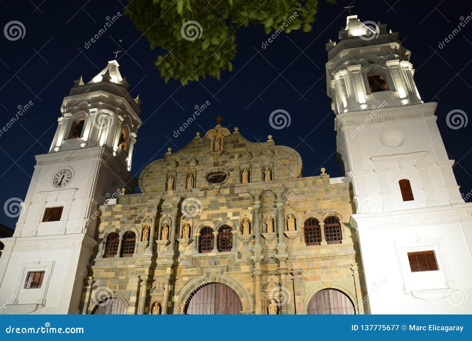 Oude de Stadscasco Viejo van Panama in Panamà ¡ bij nacht