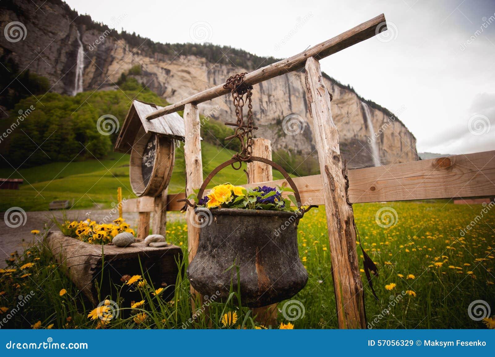 Oude die ketel met bloemen wordt verfraaid