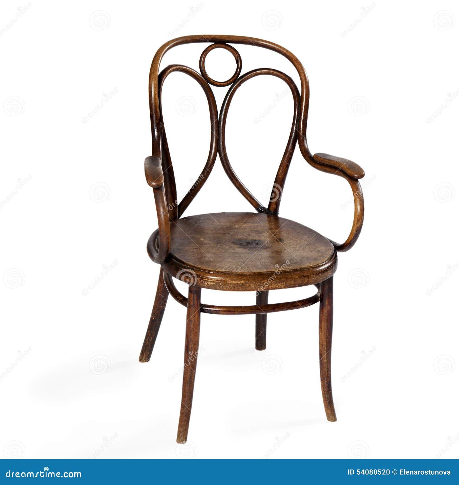 Oude die stoel op witte achtergrond wordt geïsoleerd