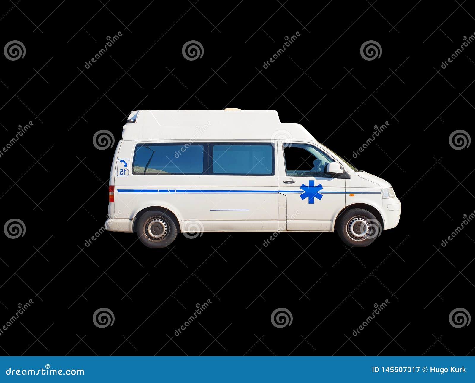 Oude die ziekenwagen op zwarte achtergrond wordt ge?soleerd