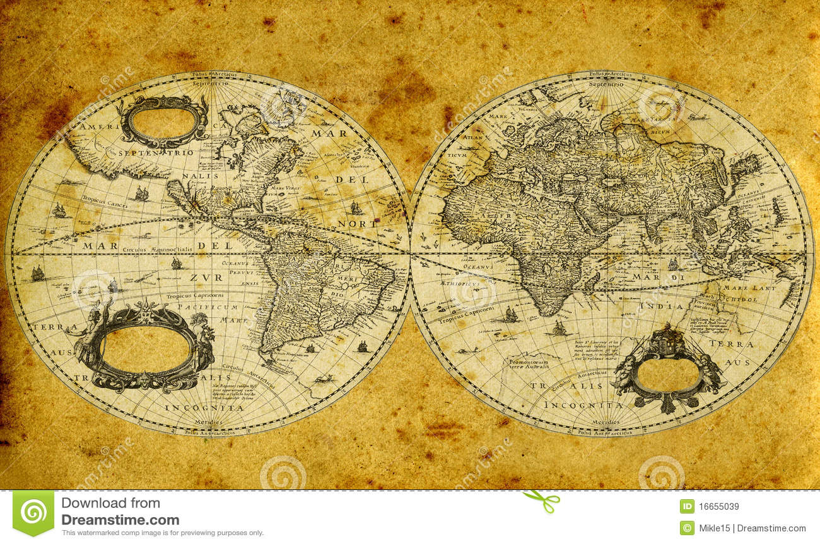 Oude document wereldkaart