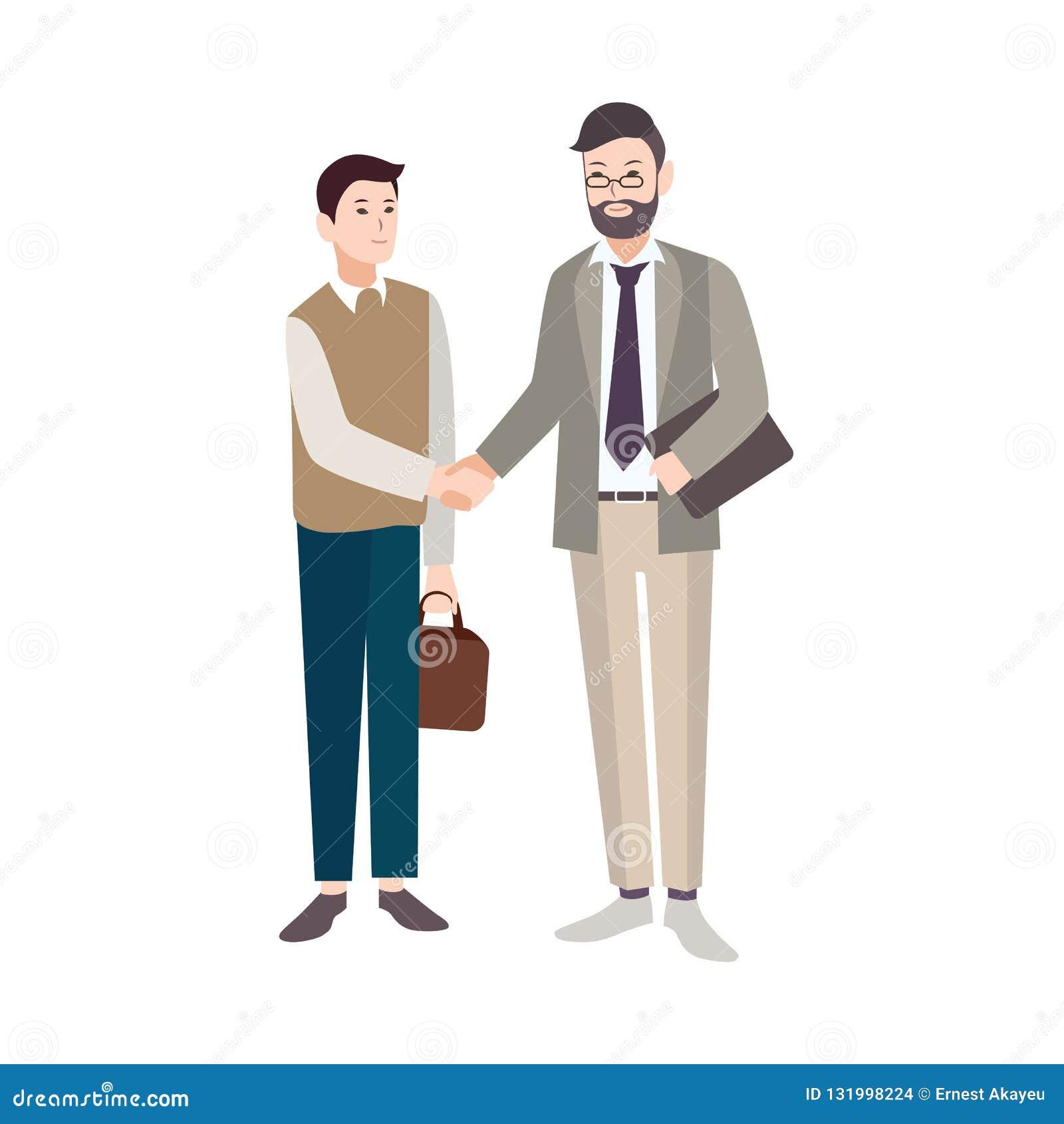 Oude en jonge die mensen, beambten of werkgever en werknemers het schudden handen op witte achtergrond worden geïsoleerd handdruk