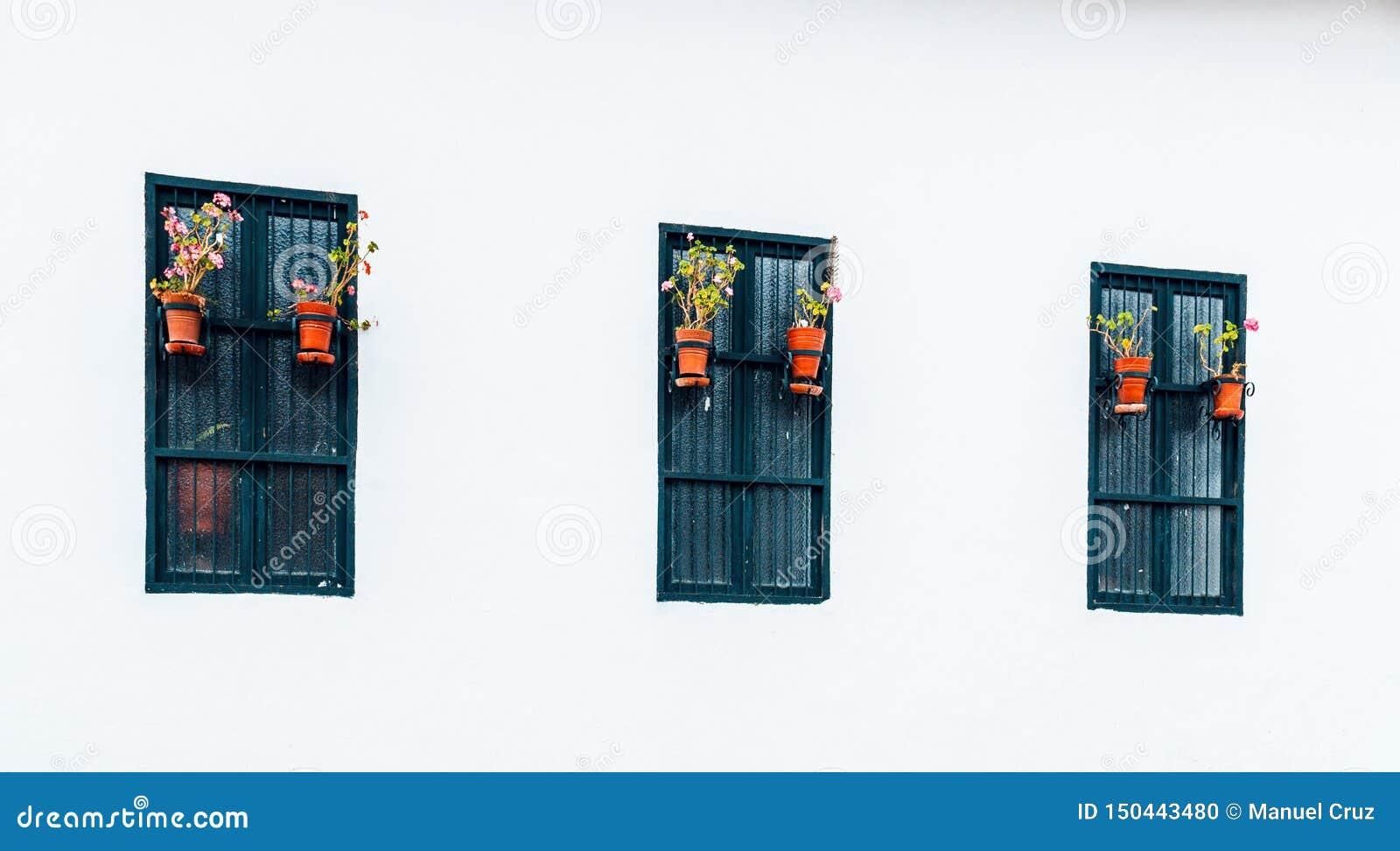 Oude en koloniale vensters in de passage van Belén van de stad van Cajamarca Peru