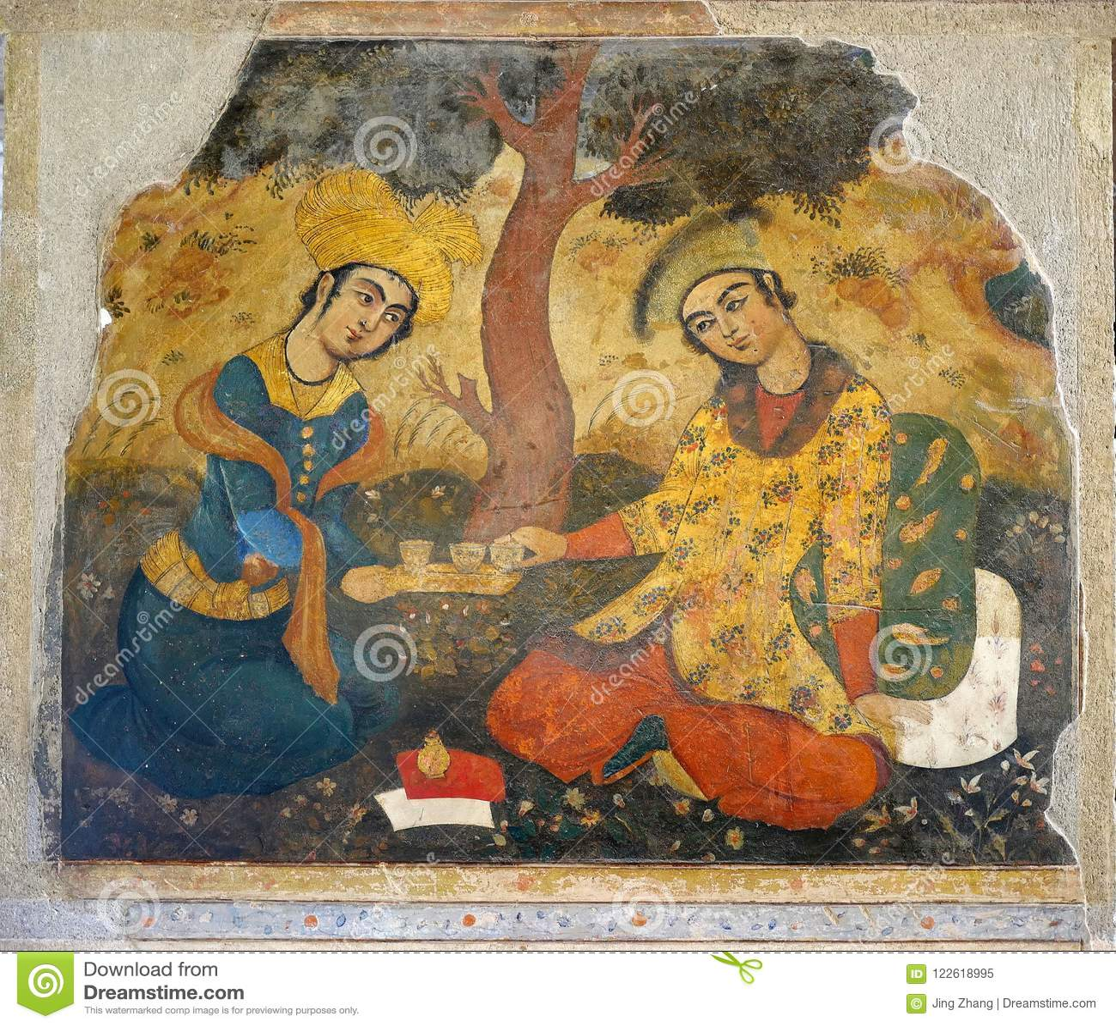 Oude fresko in paleis Chehel Sotoun