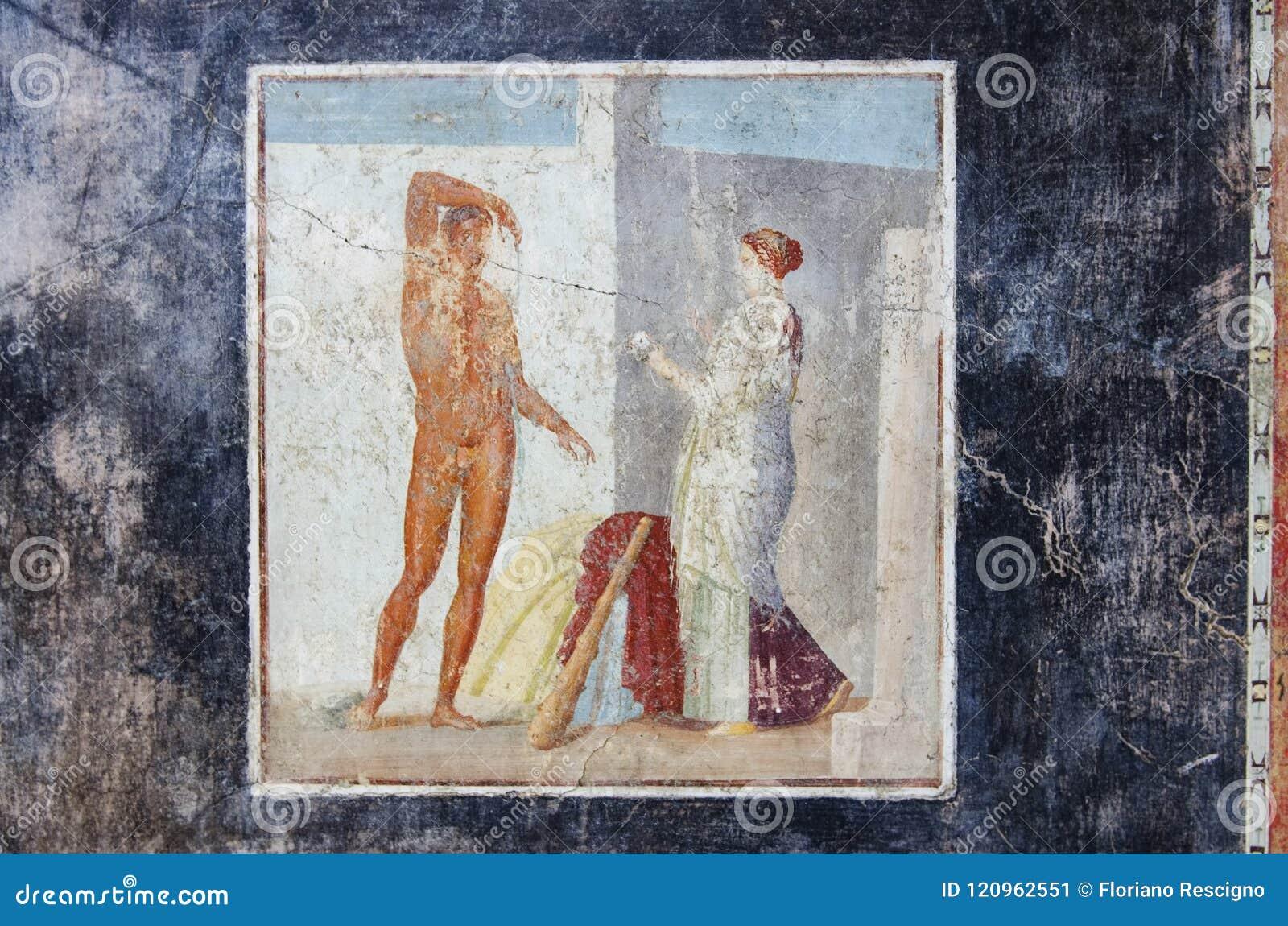 Oude fresko van Hercules in het huis van Pompei