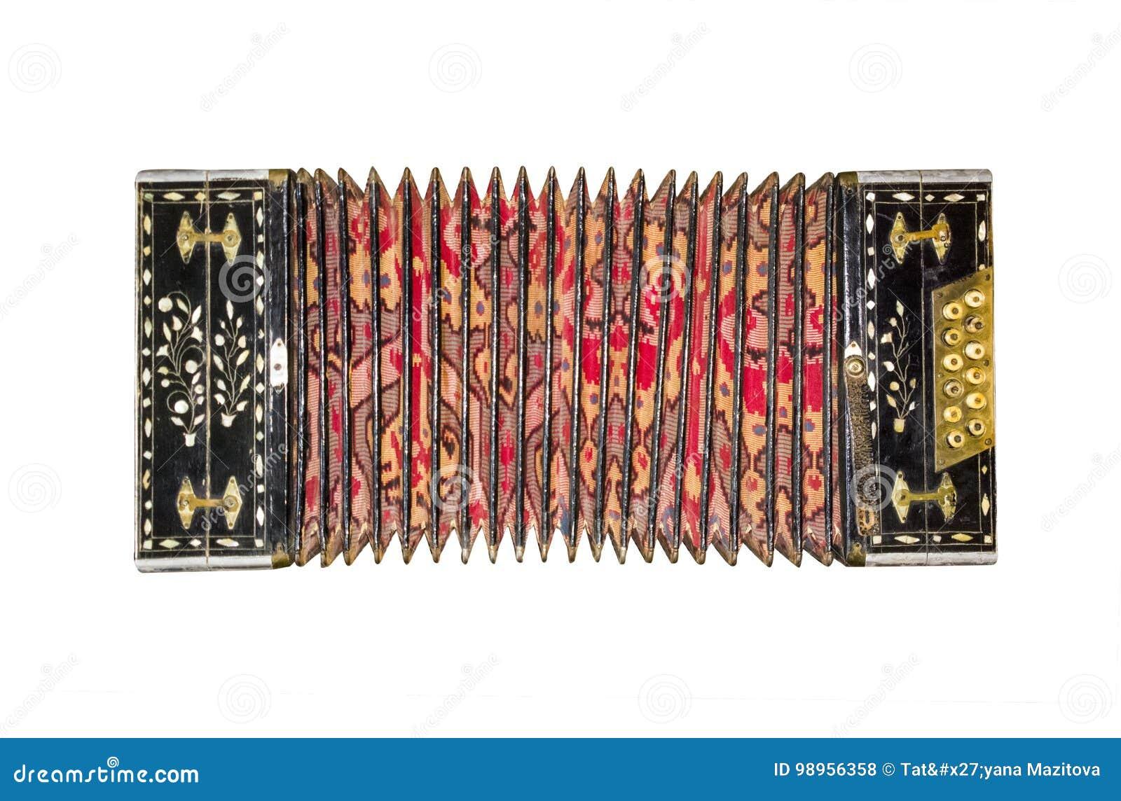 Oude geïsoleerde harmonika Uitstekende boventoon Retro knoopharmonika