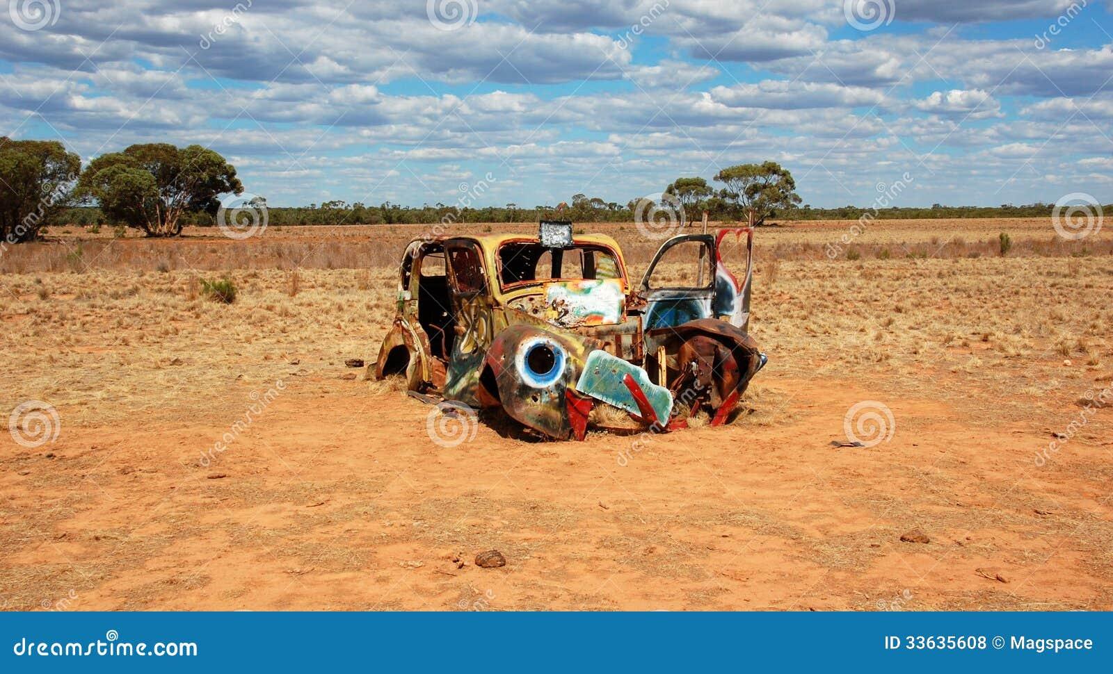 Oude geschilderde auto in Mungo National Park, Australië