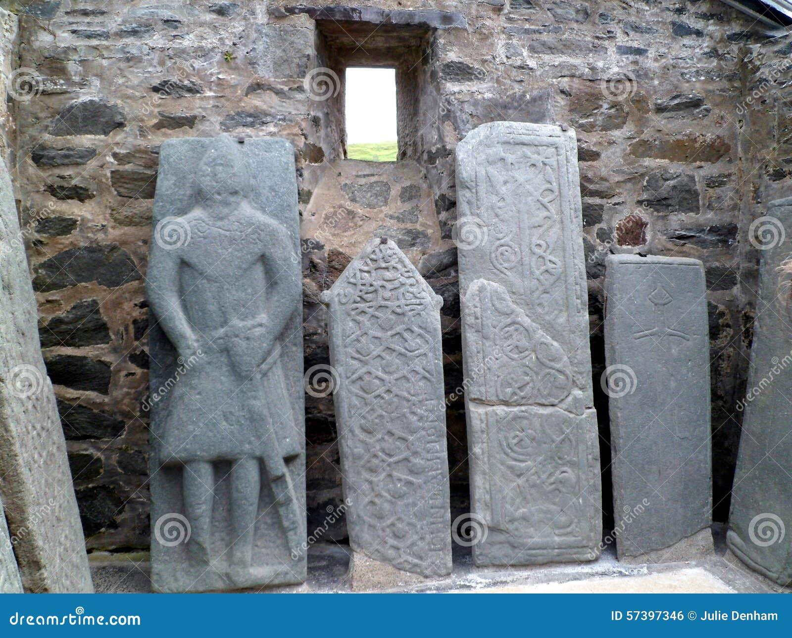 Oude Gesneden Schotse Grafstenen