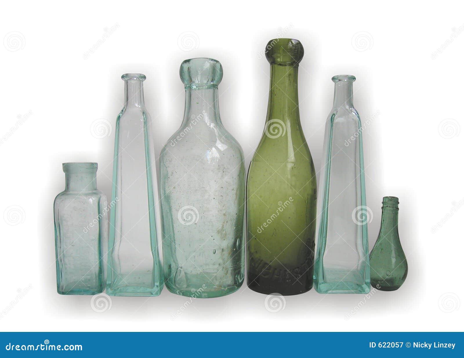 Oude glasflessen