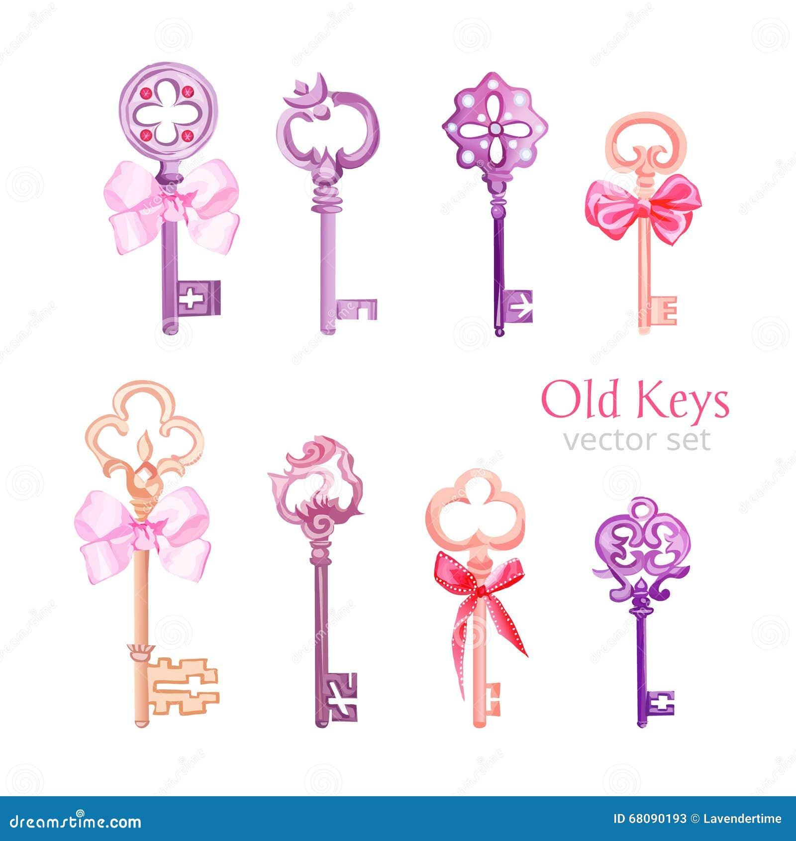 Oude gotische sleutels met vector het ontwerpreeks van lintbogen vector illustratie afbeelding - Stijl ligstoelen anciennes ...