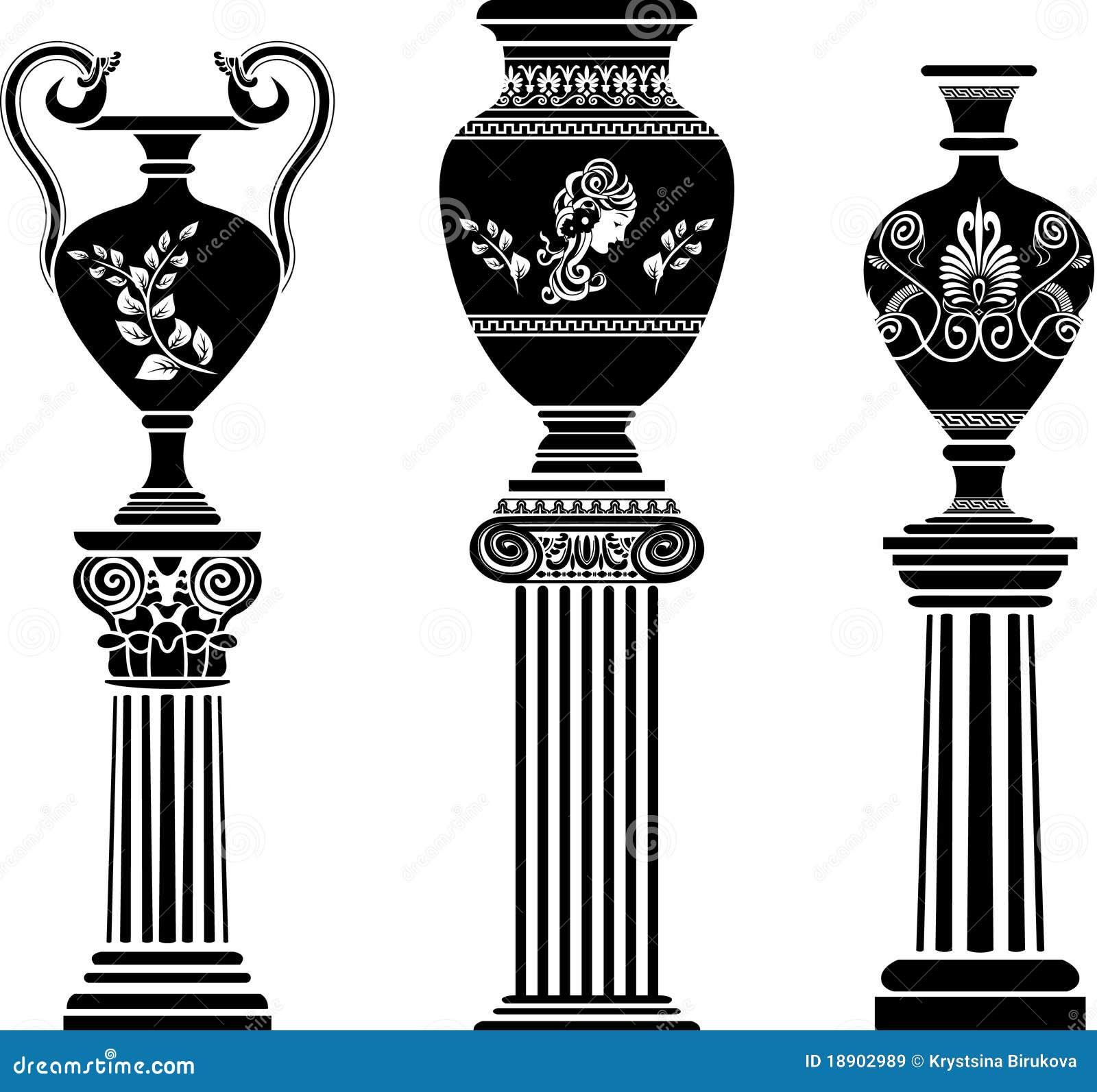 Oude griekse vaas op kolom vector illustratie afbeelding bestaande uit amphora 18902989 - Oude griekse decoratie ...