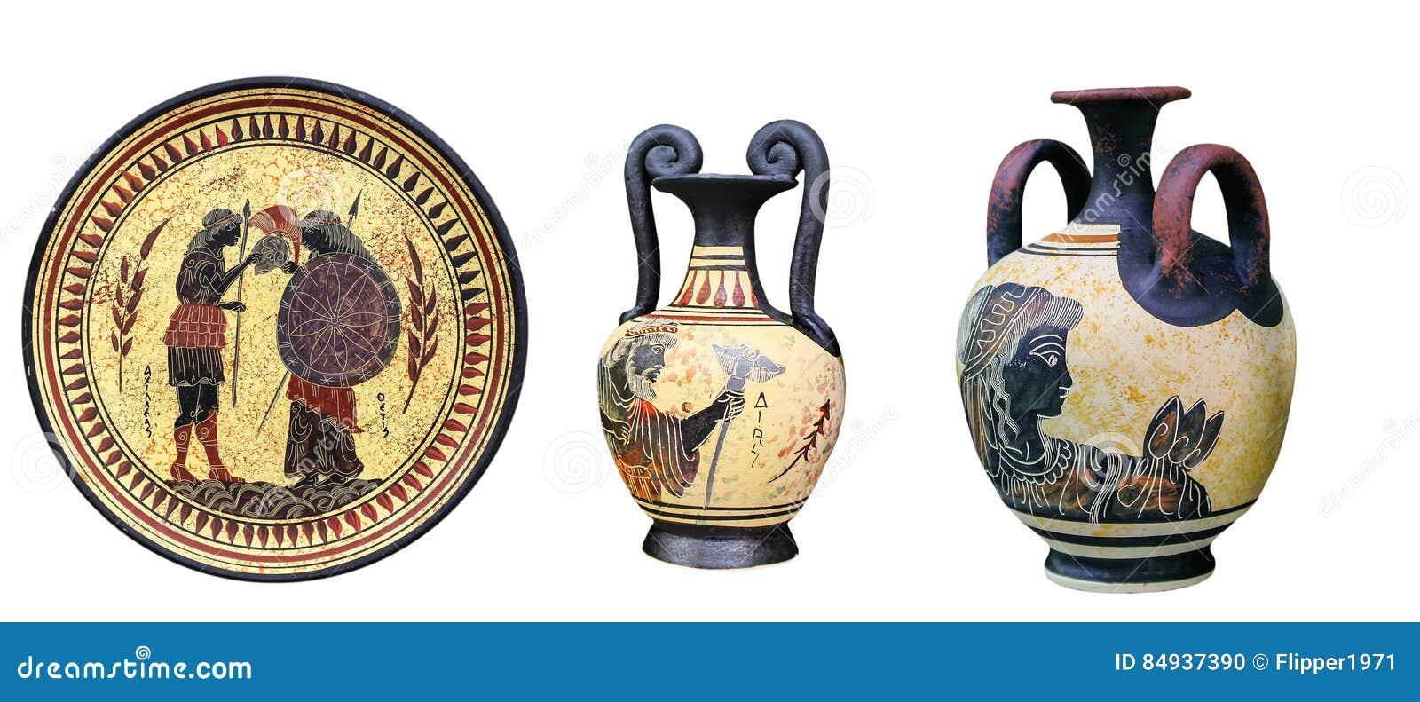 Oude griekse vazen en een plaat stock foto afbeelding 84937390 - Oude griekse decoratie ...