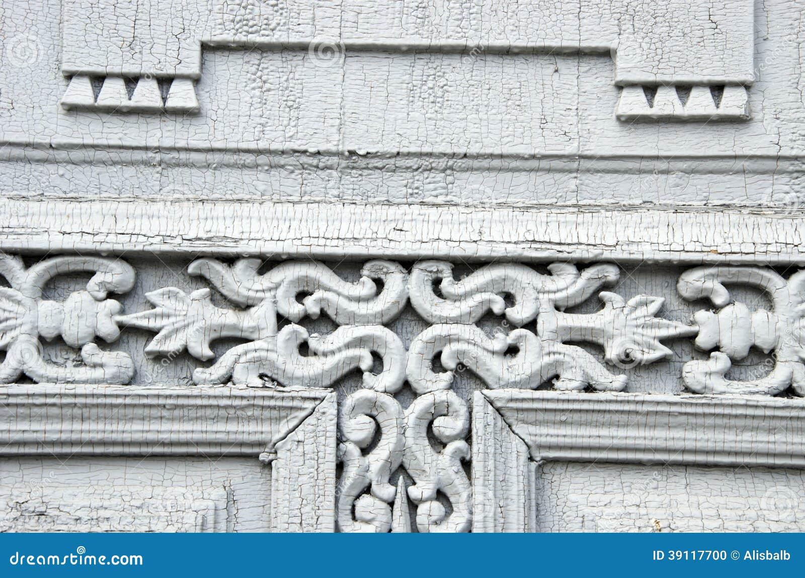 Oude houten gesneden deurornamenten
