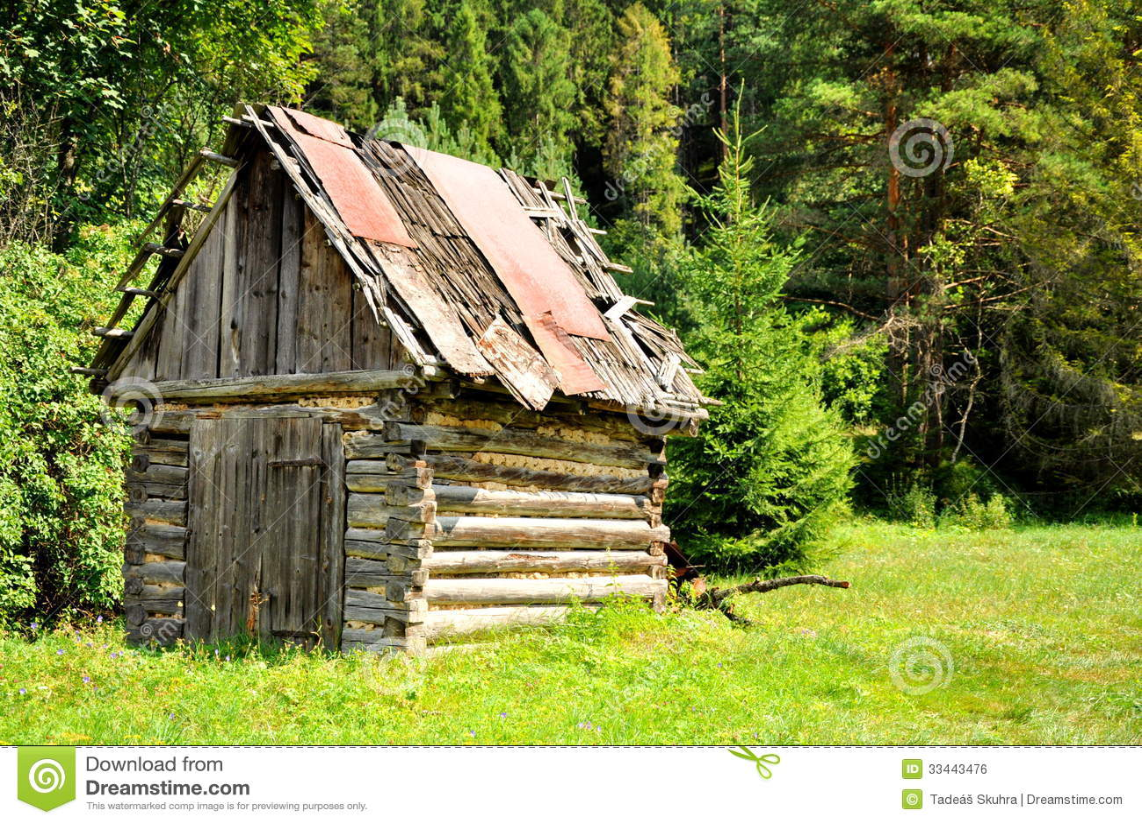 Oude Houten Hut Royalty-vrije Stock Afbeelding ...