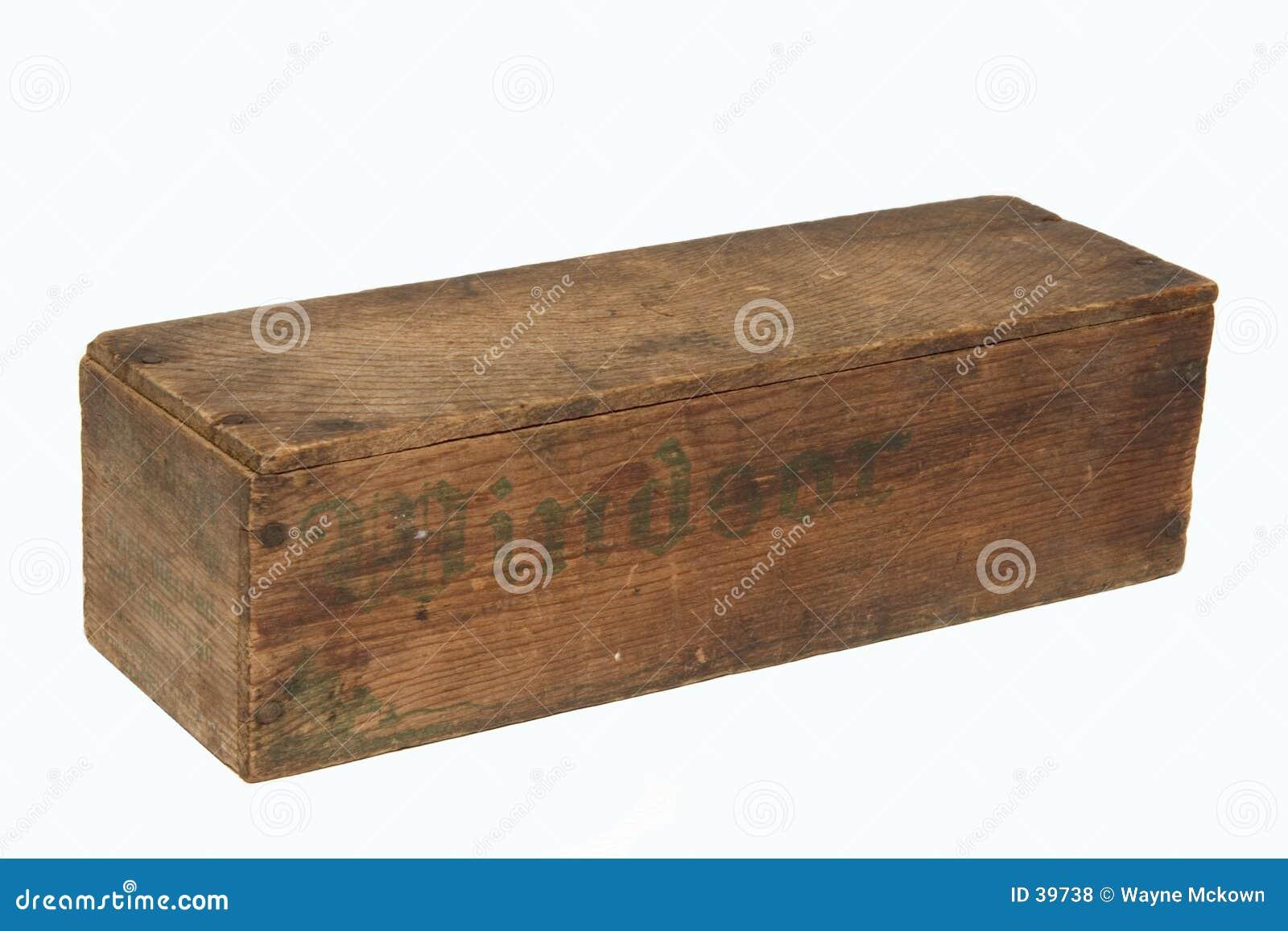 Oude houten kaasdoos.